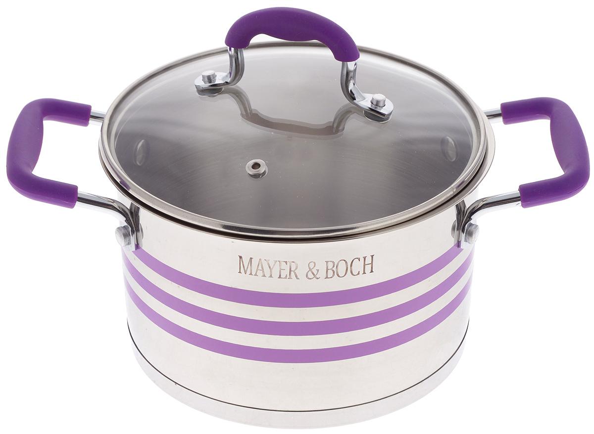 Кастрюля Mayer & Boch с крышкой, цвет: фиолетовый, стальной, 2,8 л24050Кастрюля Mayer & Boch изготовлена из высококачественной нержавеющей стали 18/10, которая придает ей привлекательный внешний вид, обеспечивает легкую очистку и долговечность. Многослойное термоаккумулирующее дно кастрюли обеспечивает наилучшее распределение и сохранение тепла. Кастрюля идеально подходит для здорового и экологичного приготовления пищи, а также диетических блюд. Ручки оснащены силиконовыми накладками, поэтому не перегреваются во время приготовления пищи. Крышка, выполненная из термостойкого стекла, позволяет следить за процессом приготовления пищи. Она оснащена отверстием для выхода пара и металлическим ободом. Форма кромки кастрюли предотвращает проливание жидкости, а благодаря правильности линий кромки в комбинации с крышкой, обеспечивается максимальная герметизация между ними. Яркий дизайн этой кастрюли придется по вкусу даже самой требовательной хозяйке. Подходит для всех типов плит, включая индукционные. Можно мыть в посудомоечной...
