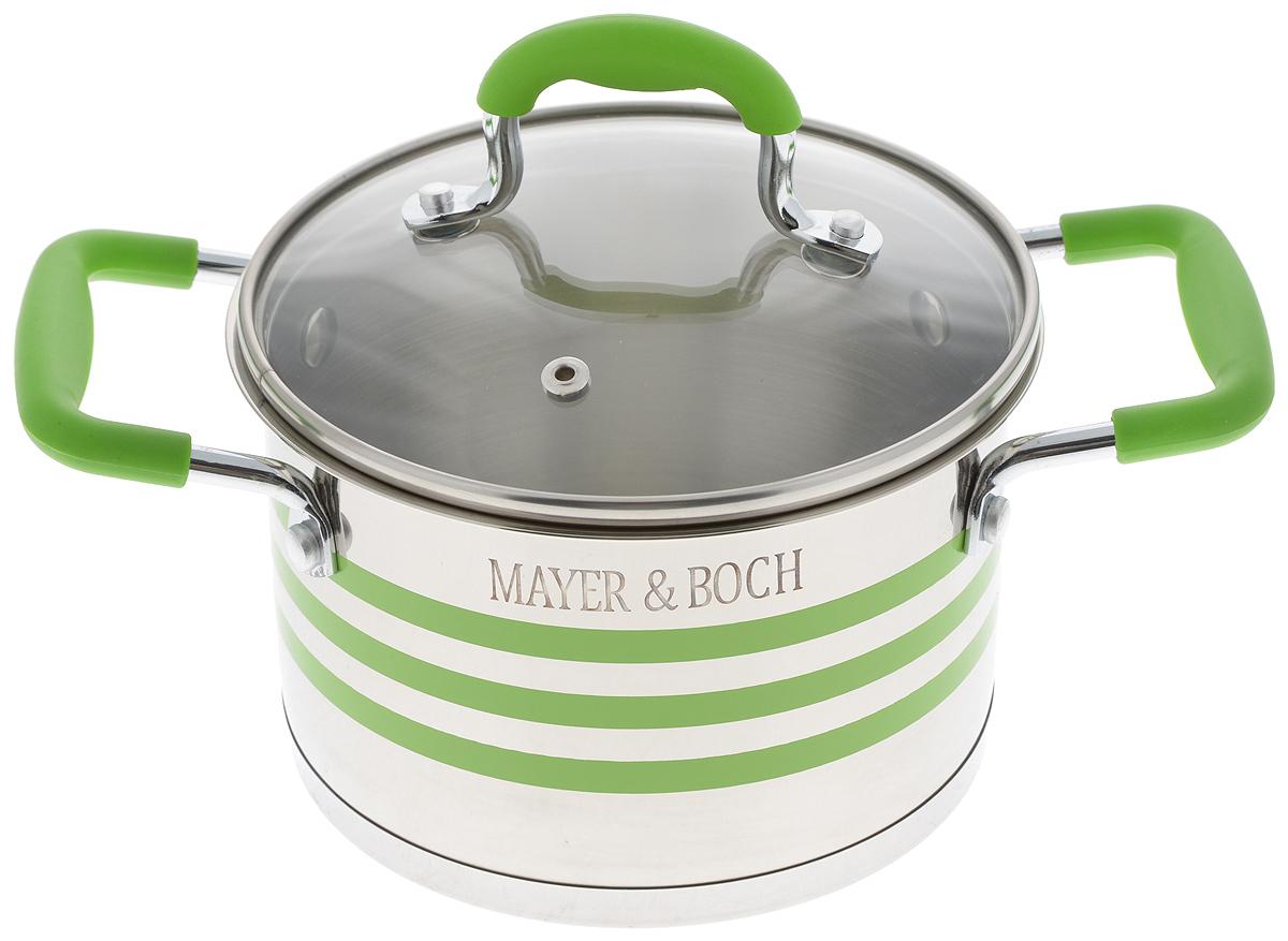 Кастрюля Mayer & Boch с крышкой, цвет: зеленый, стальной, 2 л24054Кастрюля Mayer & Boch изготовлена из высококачественной нержавеющей стали 18/10, которая придает ей привлекательный внешний вид, обеспечивает легкую очистку и долговечность. Многослойное термоаккумулирующее дно с прослойкой из алюминия обеспечивает наилучшее распределение и сохранение тепла. Кастрюля идеально подходит для здорового и экологичного приготовления пищи, а также диетических блюд. Ручки оснащены силиконовыми накладками, поэтому не перегреваются во время приготовления пищи. Крышка, выполненная из термостойкого стекла, позволяет следить за процессом приготовления пищи. Она оснащена отверстием для выхода пара и металлическим ободом. Форма кромки кастрюли предотвращает проливание жидкости, а благодаря правильности линий кромки в комбинации с крышкой, обеспечивается максимальная герметизация между ними. Яркий дизайн этой кастрюли придется по вкусу даже самой требовательной хозяйке. Подходит для всех типов плит, включая...