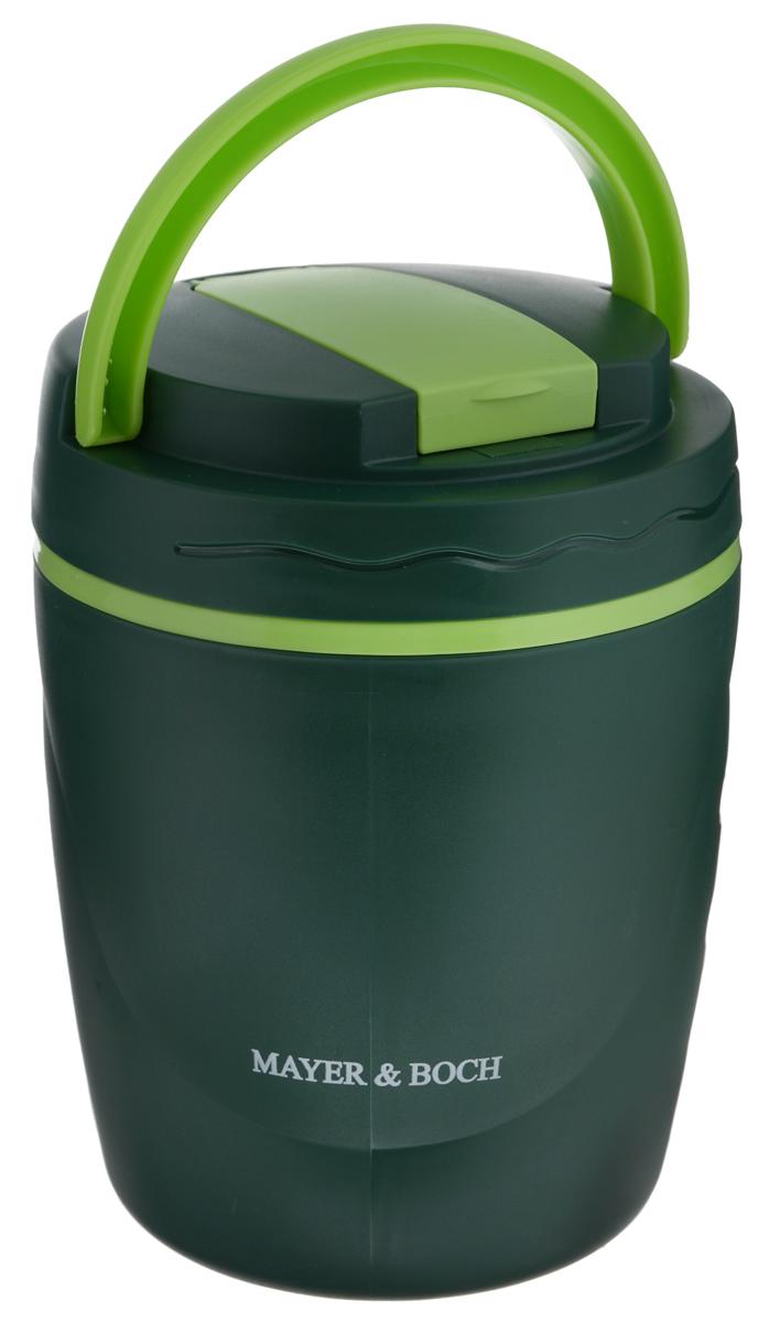 Термос пищевой Mayer & Boch, с контейнером, 1,2 л23797Термос пищевой Mayer & Boch предназначен для длительного хранения горячих блюд, сохраняя нужную температуру до 5 часов, также подходит для холодной пищи. Корпус выполнен из полипропилена, внутренний резервуар - из высококачественной нержавеющей стали, не вступающей в реакцию с продуктами и не искажающей вкус приготовленных блюд. В комплекте предусмотрен пластиковый пищевой контейнер, а также ложка-вилка, которая хранится в специальном отделении в крышке контейнера. Благодаря эргономичной форме и подвижной ручке, термос удобно транспортировать. Данный термос обладает не только прекрасными термоизоляционными качествами, но и непревзойденной надежностью. Он идеально подойдет для обедов на работе или для отдыха на природе. Диаметр контейнера: 11 см. Высота контейнера: 6 см. Длина ложки-вилки: 11,5 см. Диаметр термоса: 14 см. Высота термоса: 18 см.