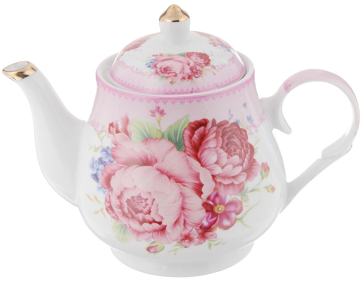 Чайник заварочный Loraine, 1,1 л. 2456824568Заварочный чайник Loraine изготовлен из керамики белого цвета. Чайник декорирован изображением цветов, носик чайника и крышка оформлены золотистой эмалью. Заварочный чайник поможет вам в приготовлении вкусного и ароматного чая, а также станет украшением вашей кухни. Яркий дизайн придает чайнику особый шарм, он удобен в использовании и понравится каждому. Такой заварочный чайник станет приятным и практичным подарком на любой праздник. Чайник упакован в подарочную коробку. Диаметр (по верхнему краю): 9,5 см. Высота (без учета крышки): 12,5 см.