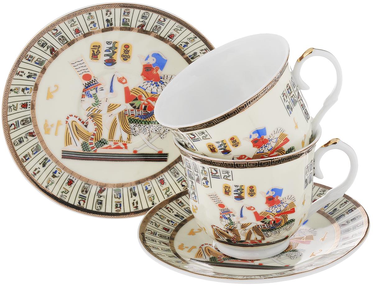 Набор чайный Loraine Египет, 4 предмета. 2099820998Чайный набор Loraine Египет, выполненный из высококачественного костяного фарфора, состоит из двух чашек и двух блюдец. Изделия декорированы красивыми рисунками в египетском стиле. Элегантный дизайн и совершенные формы предметов набора привлекут к себе внимание и украсят интерьер вашей кухни. Чайный набор идеально подойдет для сервировки стола к чаепитию и станет отличным подарком к любому празднику. Чайный набор упакован в подарочную коробку. Объем чашки: 240 мл. Диаметр чашки (по верхнему краю): 9 см. Высота чашки: 7,5 см. Диаметр блюдца: 15 см.
