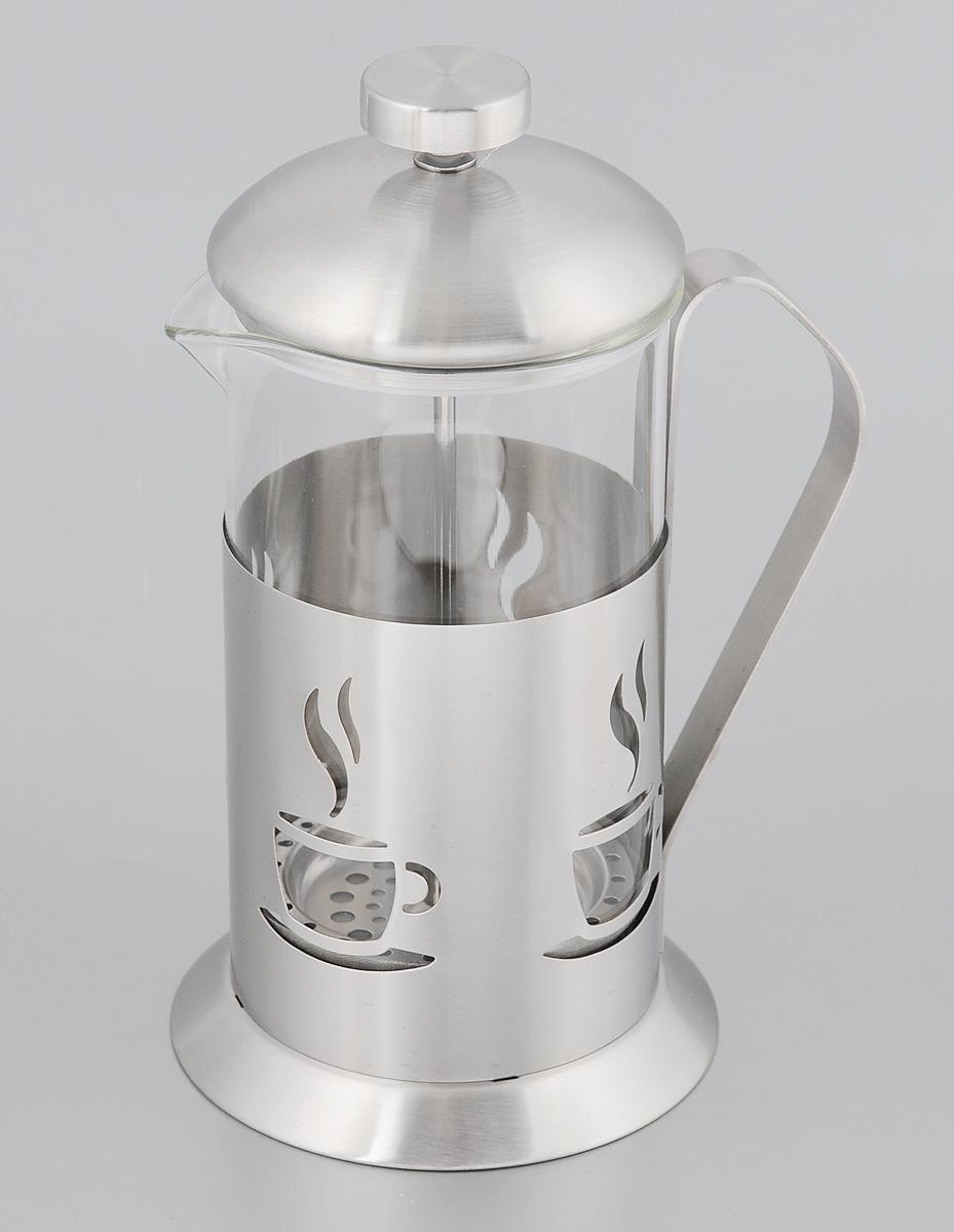 Френч-пресс Mayer & Boch, 600 мл. 81308130Френч-пресс Mayer & Boch позволит быстро и просто приготовить свежий и ароматный чай или кофе. Колба изготовлена из высококачественного жаропрочного боросиликатного стекла, устойчивого к окрашиванию, царапинам и термошоку. Фильтр-поршень из нержавеющей стали выполнен по технологии press-up для обеспечения равномерной циркуляции воды. Подставка из матовой нержавеющей стали декорирована оригинальной перфорацией в виде чашечки с кофе. Готовить напитки с помощью френч-пресса очень просто. Насыпьте внутрь заварку и залейте кипятком. Остановить процесс заваривания легко. Для этого нужно просто опустить поршень, и заварка уйдет вниз, оставляя вверху напиток, готовый к употреблению. Заварочный чайник с прессом - это совершенный чайник для ежедневного использования. Диаметр колбы: 9 см. Диаметр основания френч-пресса: 11 см. Высота (с учетом крышки): 21 см.