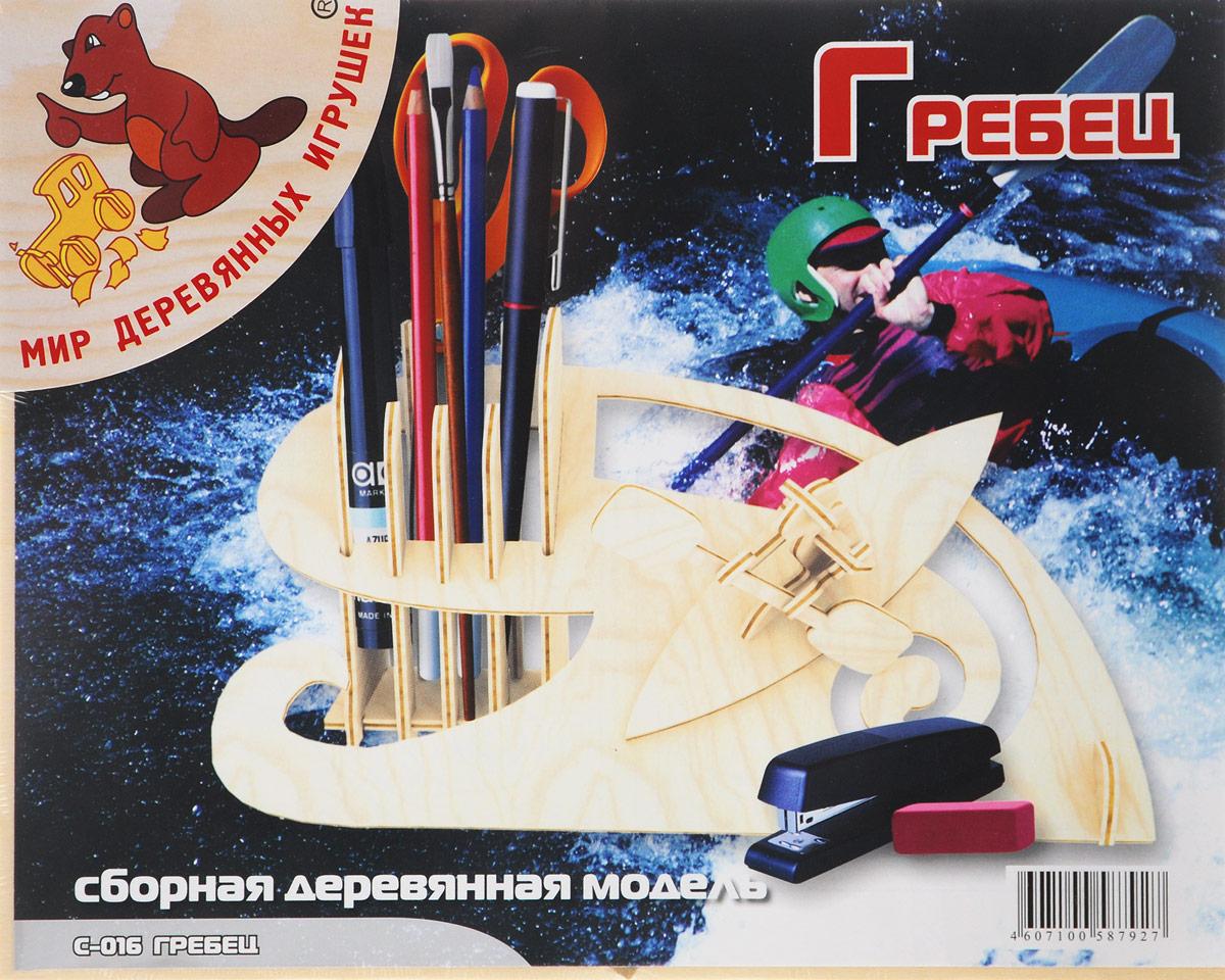 Мир деревянных игрушек Сборная деревянная модель ГребецС016Сборная деревянная модель Мир деревянных игрушек Гребец выполнена из экологически чистой древесины, не содержит формальдегид. Сборка модели развивает моторику рук, усидчивость, внимательность, пространственное и абстрактное мышления. Детали модели выдавливаются из фанерной доски и собираются согласно инструкции. Лучше всего проклеивать места соединения клеем сразу при сборке, так собранная вами модель будет дольше радовать вас. Собрав модель, вы получите великолепную деревянную подставку для канцелярских принадлежностей с фигуркой гребца на лодке. Вы можете раскрасить вашу модель, используя любые краски. В этом случае нужно заранее продумать как общий дизайн модели, так и окраску каждой детали. Производитель рекомендует использовать темперные краски. После покраски модель можно покрыть лаком.