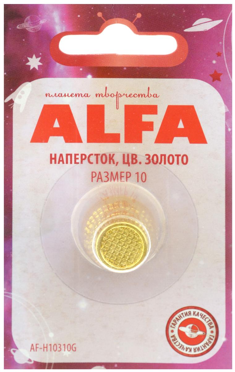 Наперсток Alfa, цвет: золотистый. Размер 10AF-H10310GНаперсток Alfa выполнен из металла, имеет анатомическую форму, поэтому удобно располагается на пальце. Оснащен перфорацией для проталкивания игл в плотные слои ткани. Размер наперстка: №10.