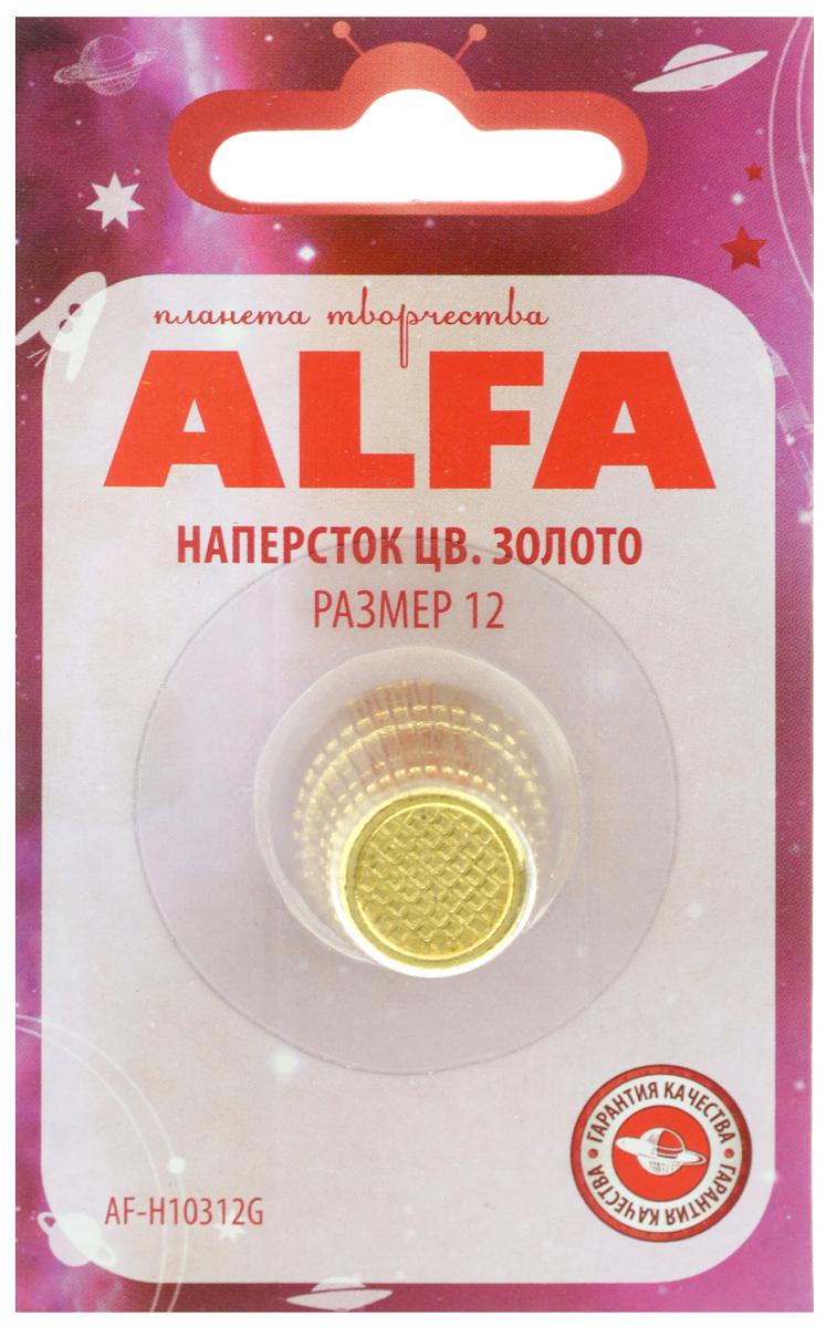 Наперсток Alfa, цвет: золотистый. Размер 12AF-H10312GНаперсток Alfa выполнен из металла, имеет анатомическую форму, поэтому удобно располагается на пальце. Оснащен перфорацией для проталкивания игл в плотные слои ткани. Размер наперстка: №12.