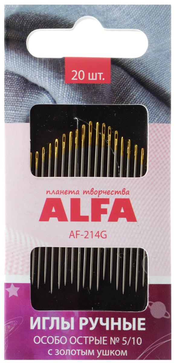 Иглы ручные Alfa, особо острые, с золотым ушком, № 5/10, 20 штAF-214GИглы ручные Alfa, изготовленные из металла, предназначены для вышивания и шитья. Они имеют ушко золотого цвета, острие игл особо острое. Разные размеры игл удовлетворят потребности в различных видах швов.