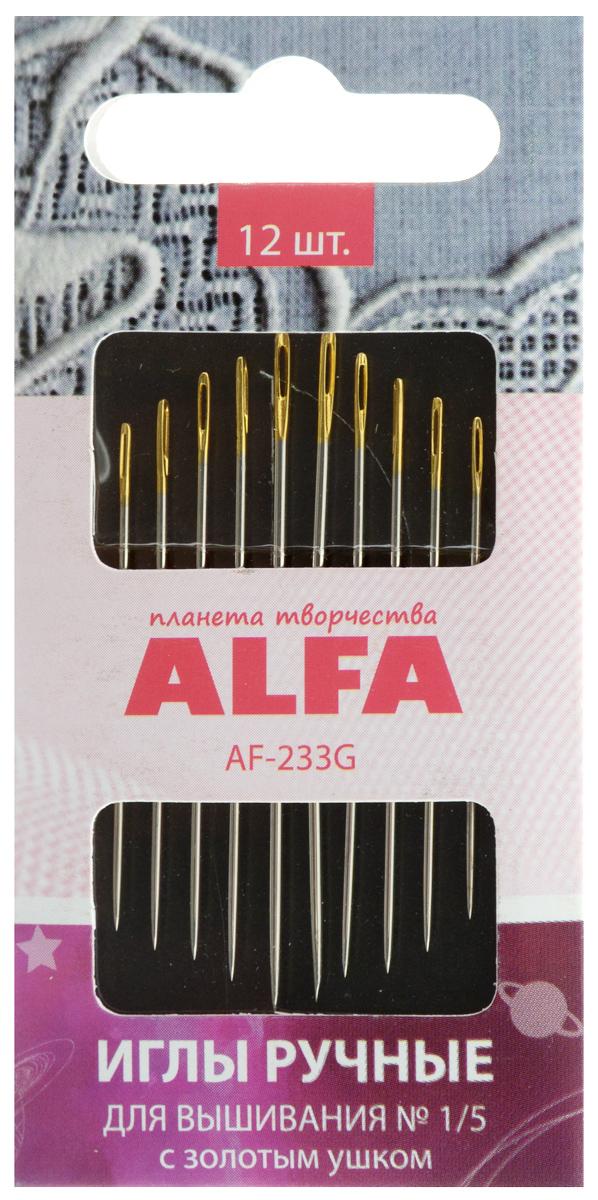 Набор ручных игл Alfa, для вышивания, с золотым ушком, №1/5, 12 штAF-233GНабор Alfa состоит из 12 ручных игл, выполненных из металла. Изделия имеют разные размер ушка, толщину и длину. Ушко игл золотистого цвета. Иглы подходят для вышивания. Рукоделие всегда считалось изысканным и благородным делом. Работа, сделанная своими руками, долго будет радовать вас и ваших близких. Набор ручных игл Alfa станет вам надежным помощником в рукоделии и шитье. Размер игл: №1/5. Количество игл: 12 шт.