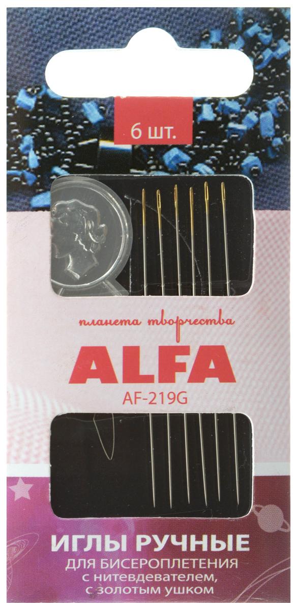 Набор ручных игл Alfa, для бисероплетения, с нитевдевателем, с золотым ушком, 6 штAF-219GНабор Alfa состоит из 6 ручных игл, выполненных из металла. Изделия имеют разный размер ушка, толщину и длину. Ушко игл золотистого цвета. Иглы предназначены для бисероплетения. В комплект входит нитевдеватель. Рукоделие всегда считалось изысканным и благородным делом. Работа, сделанная своими руками, долго будет радовать вас и ваших близких. Набор ручных игл Alfa станет вам надежным помощником в рукоделии и шитье. Количество игл: 6 шт.