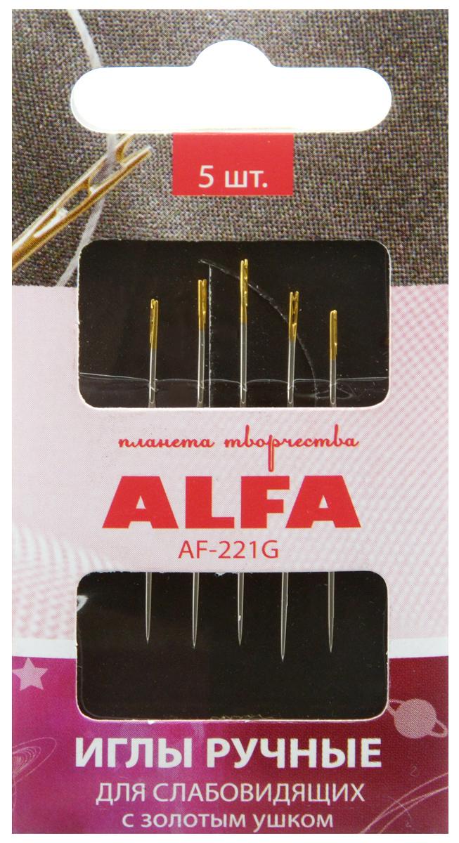 Иглы ручные Alfa, для слабовидящих, с золотым ушком, 5 штAF-221GИглы ручные Alfa, изготовленные из металла, предназначены для шитья и вышивания. Они имеют скругленное острие и двойное ушко золотого цвета. Форма игл и ушка идеально подходит для слабовидящих людей.