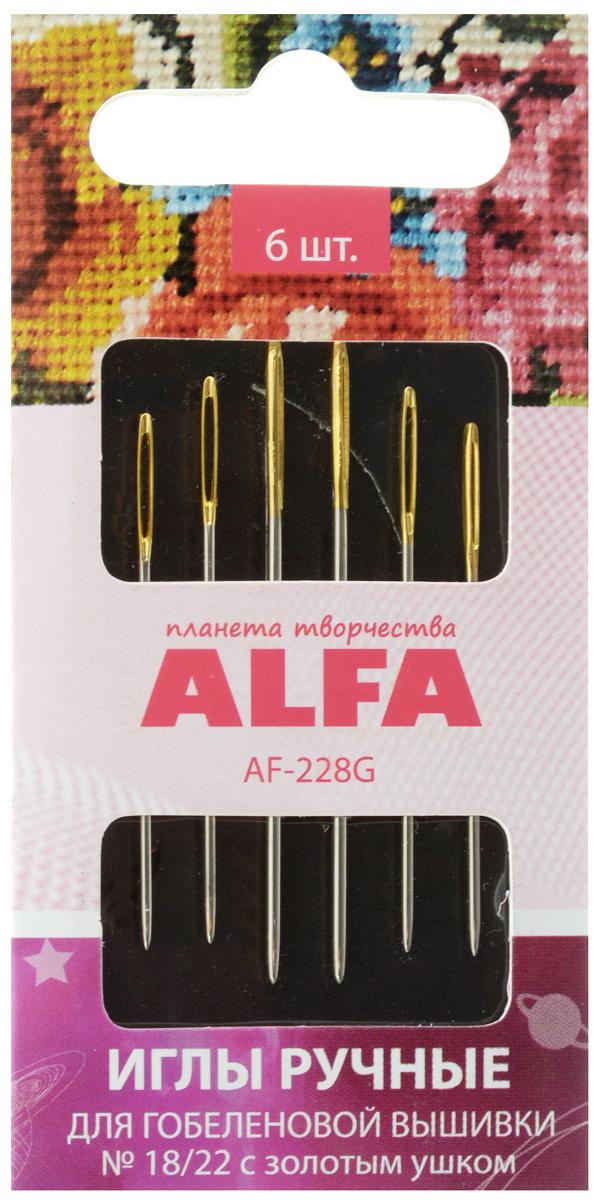 Набор ручных игл Alfa, для гобеленовой вышивки, с золотистым ушком, №18/22, 6 штAF-228GНабор Alfa состоит из 6 ручных игл, выполненных из металла. Изделия имеют разный размер ушка, толщину и длину. Иглы предназначены для гобеленовой вышивки. Рукоделие всегда считалось изысканным и благородным делом. Работа, сделанная своими руками, долго будет радовать вас и ваших близких. Набор ручных игл Alfa станет вам надежным помощником в рукоделии и шитье. Размер игл: №18/22. Количество игл: 6 шт.