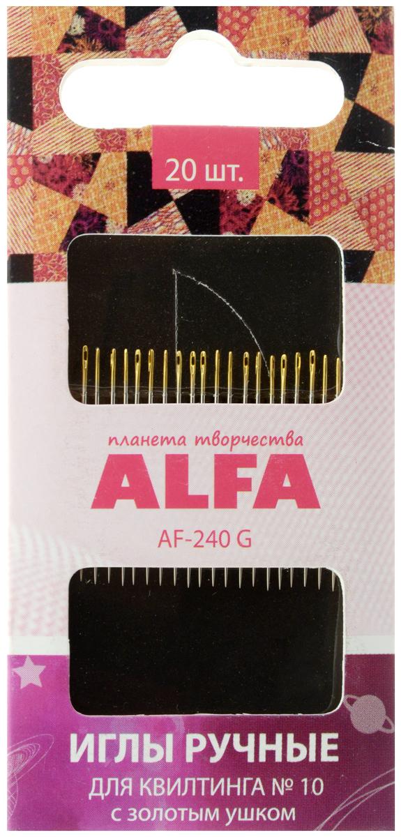 Иглы ручные Alfa, для квилтинга, с золотым ушком, №10, 20 штAF-240 GИглы ручные Alfa изготовлены из металла и предназначены для вышивания в технике квилтинг. Они имеют скругленное острие и ушко золотого цвета.
