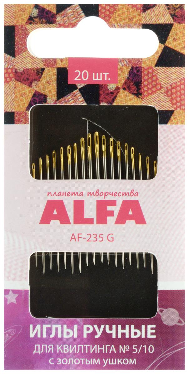 Иглы ручные Alfa, для квилтинга, с золотым ушком, №5/10, 20 штAF-235 GИглы ручные Alfa изготовлены из металла и предназначены для вышивания в технике квилтинг. Они имеют скругленное острие и ушко золотого цвета.
