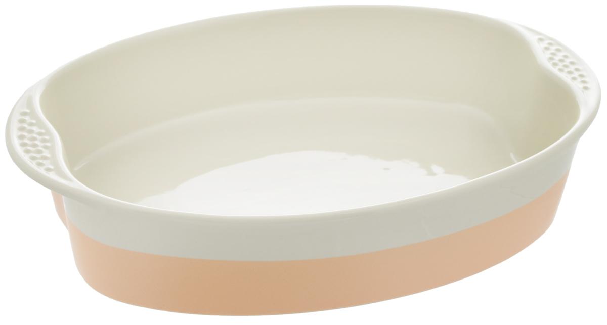 Форма для выпечки Mayer & Boch, овальная, цвет: бежевый, персиковый, 33,8 х 22 см21765Форма Mayer & Boch изготовлена из глины с глазурованным покрытием и оснащена двумя удобными ручками по бокам. Форма удерживает тепло, медленно и равномерно его распределяет. Пища не пригорает и не прилипает к стенкам посуды. Подходит для использования в микроволновой печи и духовке. Подходит для хранения продуктов в холодильнике и морозильной камере. Не подходит для открытого огня. Можно мыть в посудомоечной машине. Размер формы (с учетом ручек): 33,8 х 22 см. Внутренний размер формы: 29 х 22 см. Высота стенки: 7 см.