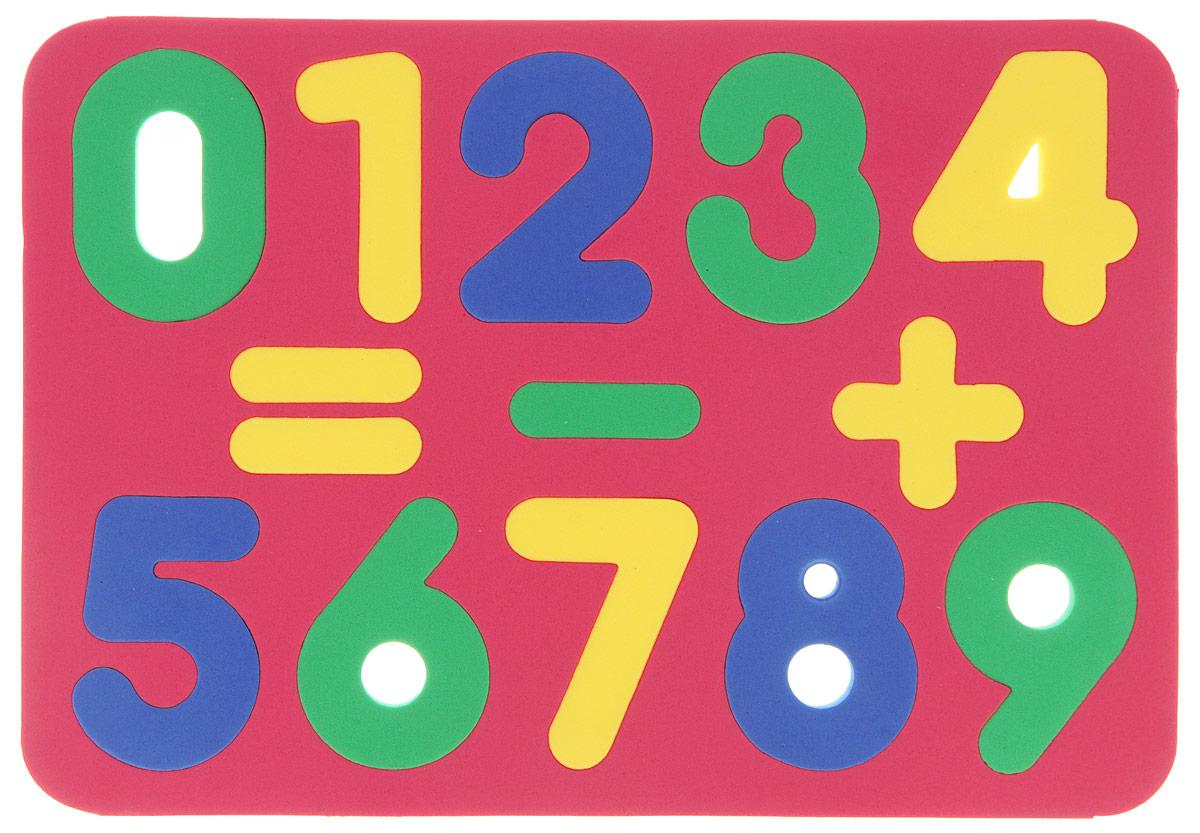 Бомик Пазл для малышей Цифры цвет основы красный204_красныйМягкий пазл для малышей Бомик Цифры выполнен в виде рамки, на которой расположены разноцветные цифры от 0 до 9 и три математических знака. Пазл изготовлен из мягкого, прочного материала, вспененного этиленвинилацетата, который обеспечивает большую долговечность и является абсолютно безопасным для детей. Мягкий пазл для малышей Бомик Цифры развивает у ребенка моторику, цветовое восприятие, знакомит с цифрами и учит решать простейшие математические примеры. Обучение происходит прямо во время игры!