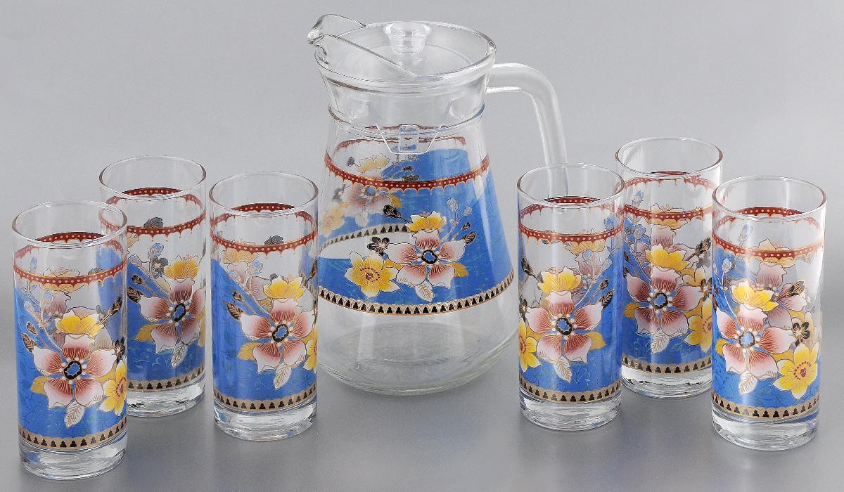 Набор питьевого стекла Loraine, 7 предметов. 2406424064Набор Loraine состоит из 6 стаканов и кувшина, выполненных из высококачественного стекла. Изделия декорированы изысканным цветочным рисунком. Кувшин дополнен прозрачной пластиковой крышкой. Благодаря такому набору пить напитки будет еще вкуснее. Набор Loraine станет также отличным подарком на любой праздник. Подходит для горячих и холодных напитков. Идеальный дизайн для классической сервировки стола. Не рекомендуется мыть в посудомоечной машине. Объем стакана: 285 мл. Диаметр стакана (по верхнему краю): 6 см. Высота стакана: 14 см. Объем кувшина: 1,3 л. Высота кувшина: 21 см. Диаметр (по верхнему краю): 10 см.
