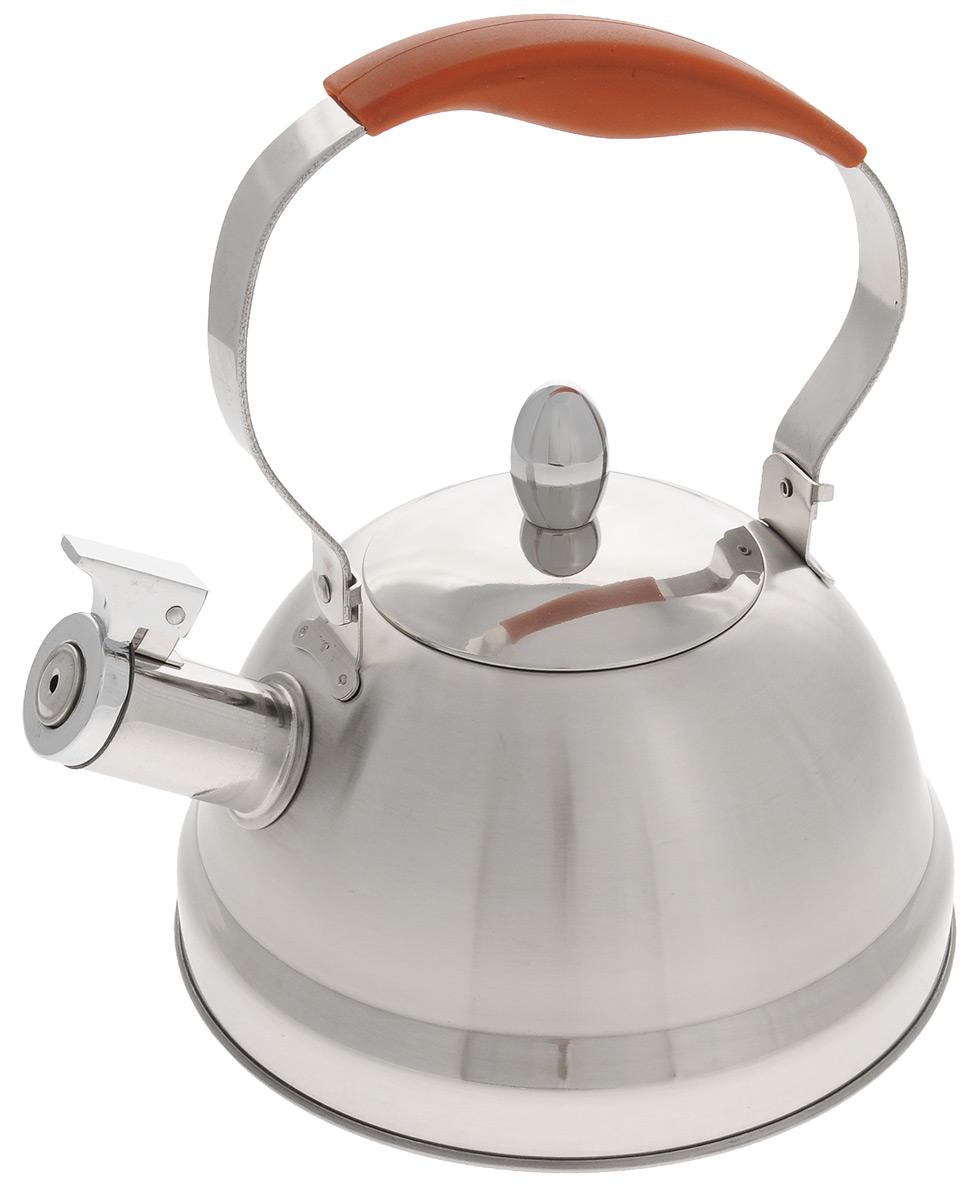 Чайник Mayer & Boch, со свистком, 2,8 л. 32903290Чайник Mayer & Boch выполнен из нержавеющей стали высокой прочности. При кипячении сохраняет все полезные свойства воды. Весьма гигиеничен и устойчив к износу при длительном использовании. Гладкая и ровная поверхность существенно облегчает уход за посудой. Чайник оснащен свистком, который громко оповестит о закипании воды. Ручка чайника изготовлена из пластика с покрытием Soft-Touch. Такой чайник идеально впишется в интерьер любой кухни и станет замечательным подарком к любому случаю. Подходит для всех типов плит, включая индукционные. Можно мыть в посудомоечной машине. Диаметр чайника (по верхнему краю): 10 см. Высота чайника (с учетом ручки): 25,5 см. Высота чайника (без учета ручки и крышки): 11 см.