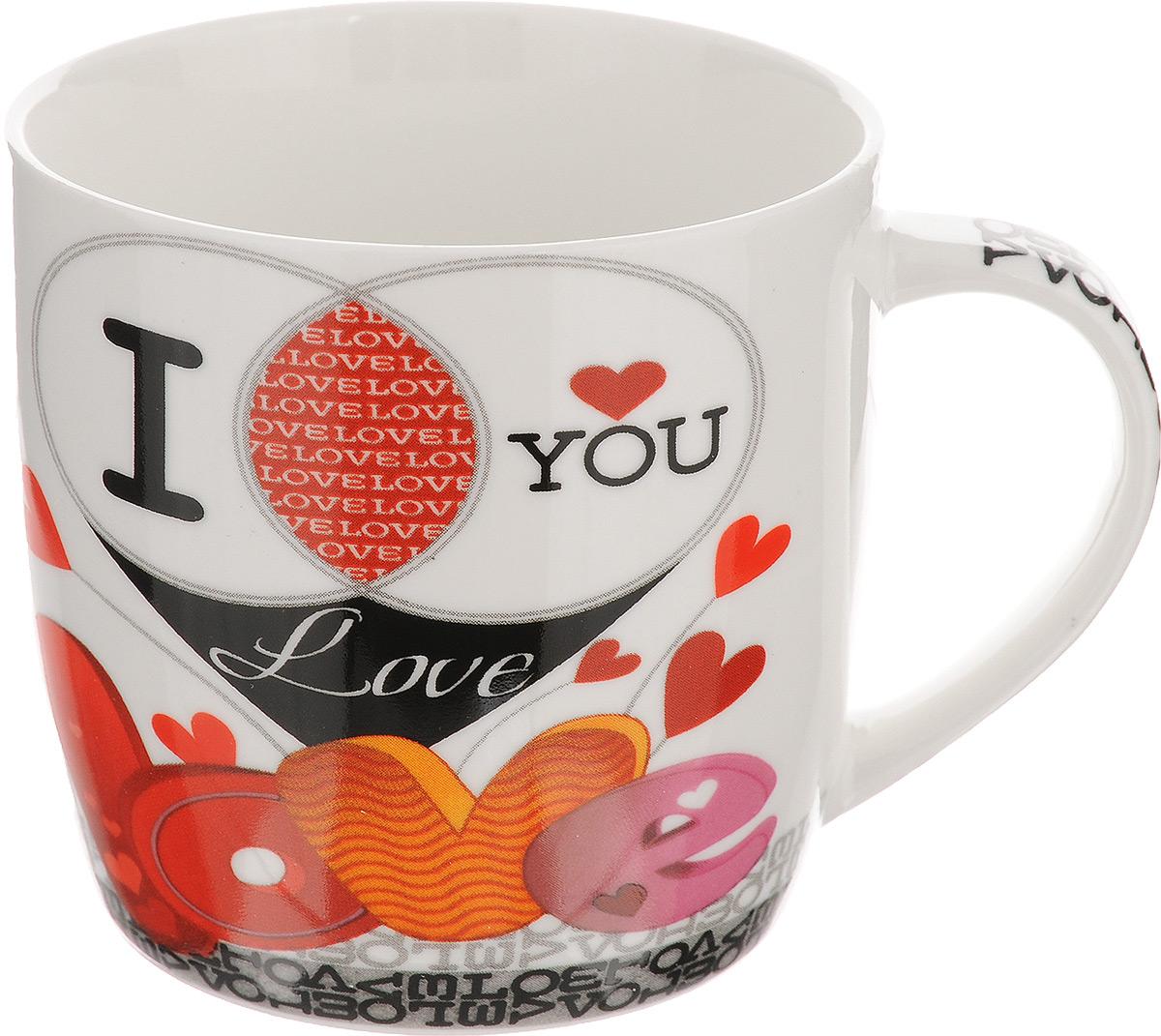 Кружка Loraine, цвет: белый, красный, черный, 320 мл. 2446924469Оригинальная кружка Loraine выполнена из высококачественного фарфора и оформлена красочным рисунком. Она станет отличным дополнением к сервировке семейного стола и замечательным подарком для ваших родных и друзей. Диаметр кружки (по верхнему краю): 8,5 см