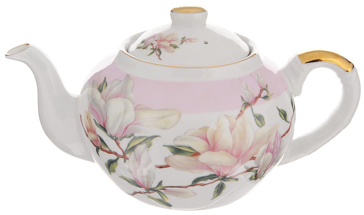Чайник заварочный Loraine, с фильтром, 1 л. 2112021120Заварочный чайник Loraine изготовлен из высококачественной керамики и дополнен металлическим фильтром. Он имеет изящную форму и декорирован нежным цветочным рисунком. Чайник сочетает в себе стильный дизайн с максимальной функциональностью. Красочность оформления придется по вкусу и ценителям классики, и тем, кто предпочитает утонченность и изысканность. Чайник упакован в подарочную коробку из плотного картона. Внутренняя часть коробки задрапирована атласом, и чайник надежно крепится в определенном положении благодаря особым выемкам в коробке. Высота чайника (без учета крышки): 12 см. Диаметр (по верхнему краю): 9 см. Высота чайника (с учетом крышки): 15 см.