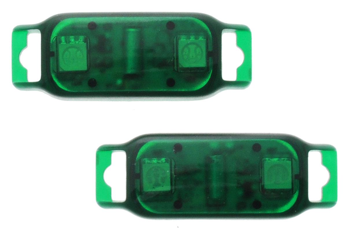 Partymania Светодиоды с датчиком движения Shine & Go! цвет зеленый 2 штТ1301_зеленыеСветодиоды с датчиком движения Partymania Shine & Go! рекомендуется использовать как светящееся украшение для ботинок, кроссовок, туфель. Shine & Go! - это прекрасное дополнение к вашему празднику. Датчики срабатывают во время движения, заставляя светодиоды включаться на короткое время. Изделие работает от 2 батареек типа CR-1220, установлены и не являются заменяемыми.
