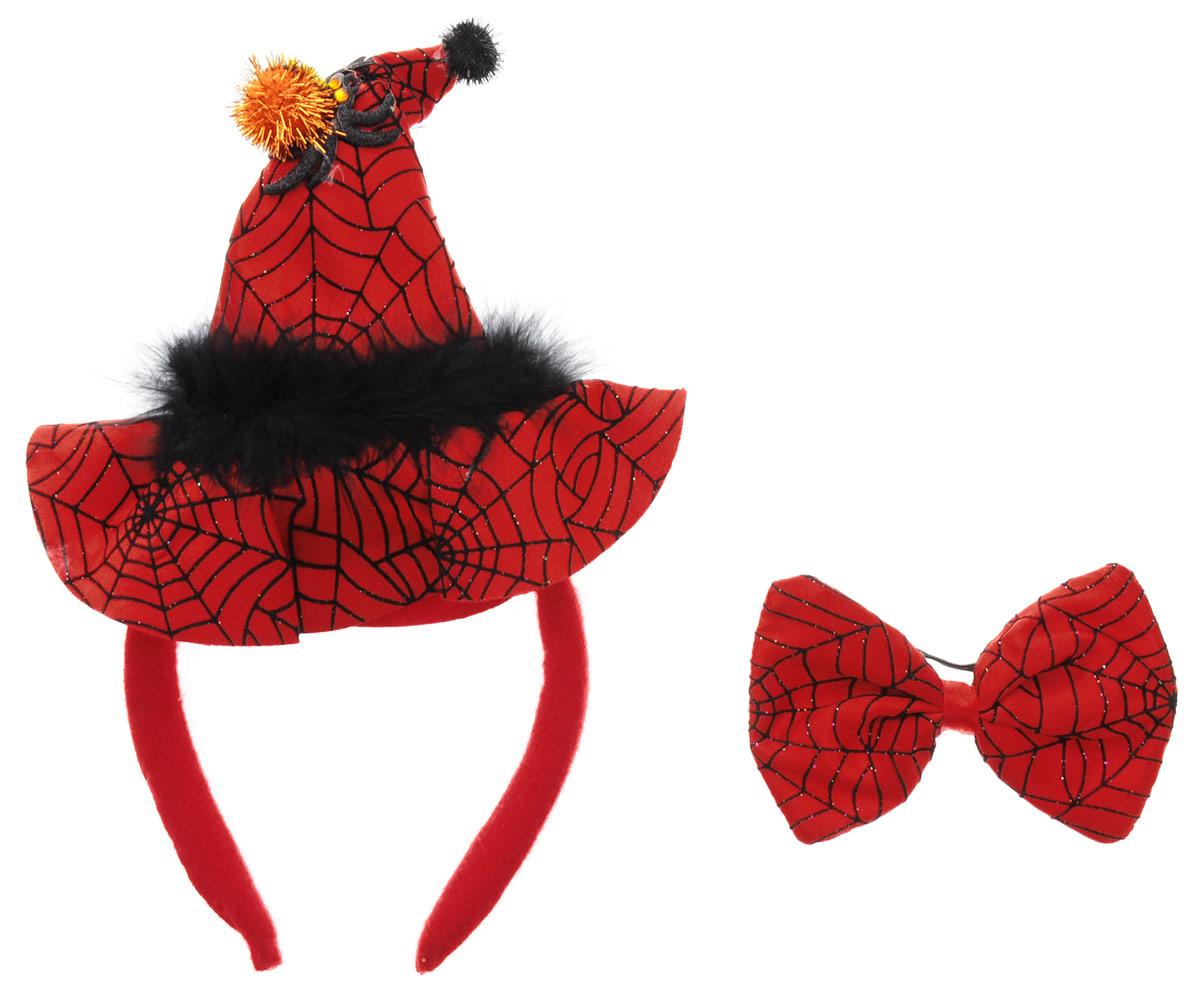 Partymania Ободок Шляпа Ведьмочки с бабочкой цвет красный черныйT1203_красныйОбодок Partymania Шляпа Ведьмочки - очень стильный аксессуар на любой маскарад. Одевается он на голову очень просто. Ободок обтянут тканью, шляпка выполнена также из ткани красного и черного цветов и украшена блестящим пауком. К ободку прилагается бабочка на резинке. С таким набором вы будете смотреться оригинально на карнавальном празднике, а праздник станет ярким и красочным!
