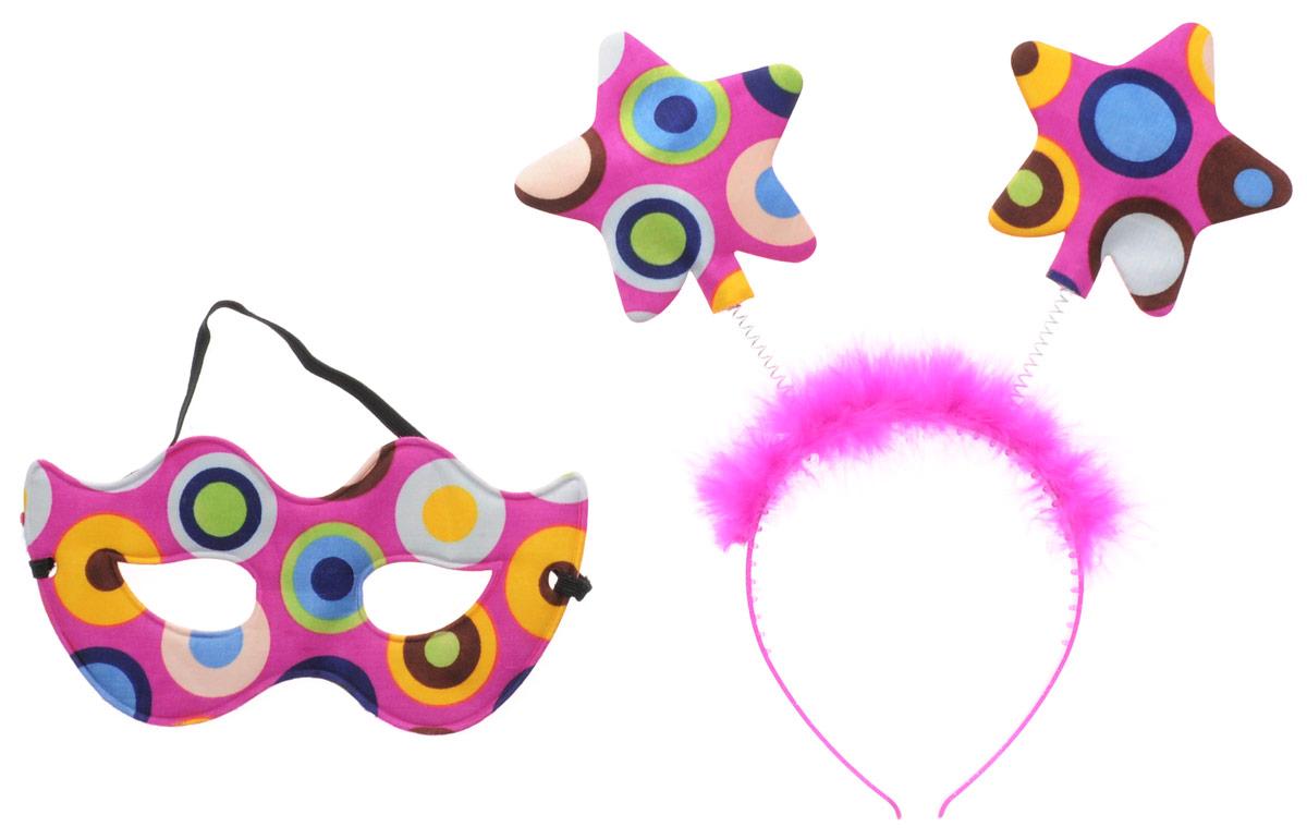 Partymania Ободок с маской карнавальной Звездочки цвет фуксияT1223_розовый, разноцветные кругиОбодок с маской карнавальной Partymania Звездочки отлично подойдет для праздников и карнавалов. Праздничный ободок поможет создать яркий, интересный образ и привлечь всеобщее внимание. Он дополнит маскарадный костюм и придаст ему интересную изюминку. Набор из ободка и карнавальной маски придется по душе ярким, веселым и экстравагантным натурам. Праздничный набор изготовлен из безопасных для здоровья материалов. Маска надежно крепится на резинке.