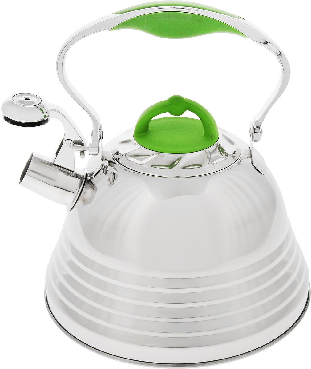 Чайник Mayer & Boch, со свистком, цвет: зеленый, стальной, 3 л. 2278522785Чайник Mayer & Boch выполнен из высококачественной нержавеющей стали, что обеспечивает долговечность использования. Капсулированное дно с прослойкой из алюминия обеспечивает наилучшее распределение тепла. Носик чайника оснащен насадкой-свистком и устройством для его открывания, что позволит вам контролировать процесс подогрева или кипячения воды. Ручка оснащена силиконовой вставкой для предотвращения ожогов на руках. Можно мыть в посудомоечной машине. Подходит для всех типов плит, включая индукционные. Диаметр (по верхнему краю): 10 см. Высота чайника (без учета крышки и ручки): 13 см.