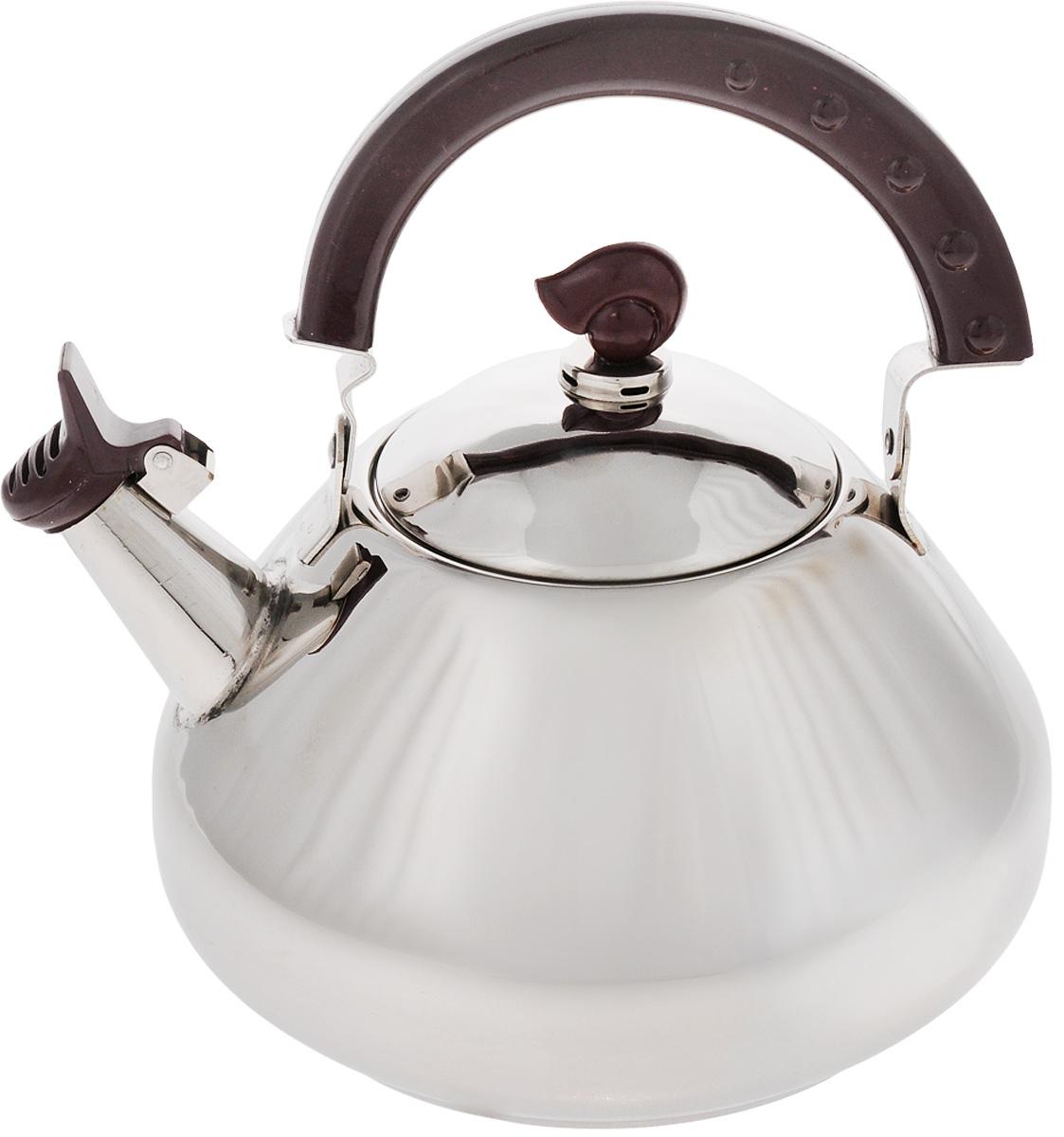 Чайник Mayer & Boch, со свистком, 2,6 л. 11011101Чайник Mayer & Boch изготовлен из высококачественной нержавеющей стали. Капсулированное дно с прослойкой из алюминия обеспечивает наилучшее распределение тепла. Носик чайника оснащен свистком, что позволит контролировать процесс подогрева или кипячения воды. Подвижная бакелитовая ручка имеет эргономичную форму, это дает дополнительное удобство при разлитии напитка. Чайник подходит для использования на всех типах плит, включая индукционные. Можно мыть в посудомоечной машине. Диаметр чайника по верхнему краю: 17,5 см. Высота чайника (без учета ручки и крышки): 11 см.