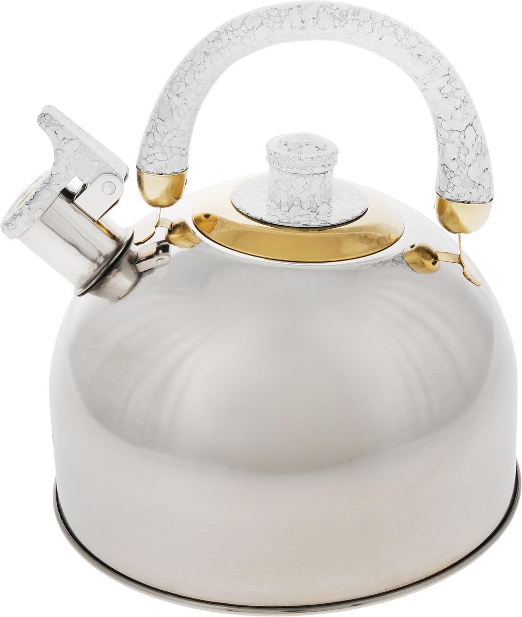 Чайник Mayer & Boch, цвет: стальной, белый, золотой, 4 л. 1046A1046A_стальной, белый, золотойЧайник Mayer & Boch изготовлен из высококачественной нержавеющей стали с зеркальной полировкой, что делает его весьма гигиеничным и устойчивым к износу при длительном использовании. Гладкая и ровная поверхность существенно облегчает уход за посудой. Выполненный из качественных материалов чайник при кипячении сохраняет все полезные свойства воды. Носик чайника имеет откидной свисток, звуковой сигнал которого подскажет, когда закипит вода. Крышка, свисток и ручка выполнены из бакелита. Классический дизайн чайника Mayer & Boch дополнит любую кухню. Подходит для использования на всех типах кухонных плит, кроме индукционных. Высота чайника (с учетом ручки): 21 см. Высота чайника (без учета ручки и крышки): 12 см. Диаметр по верхнему краю: 8,5 см.