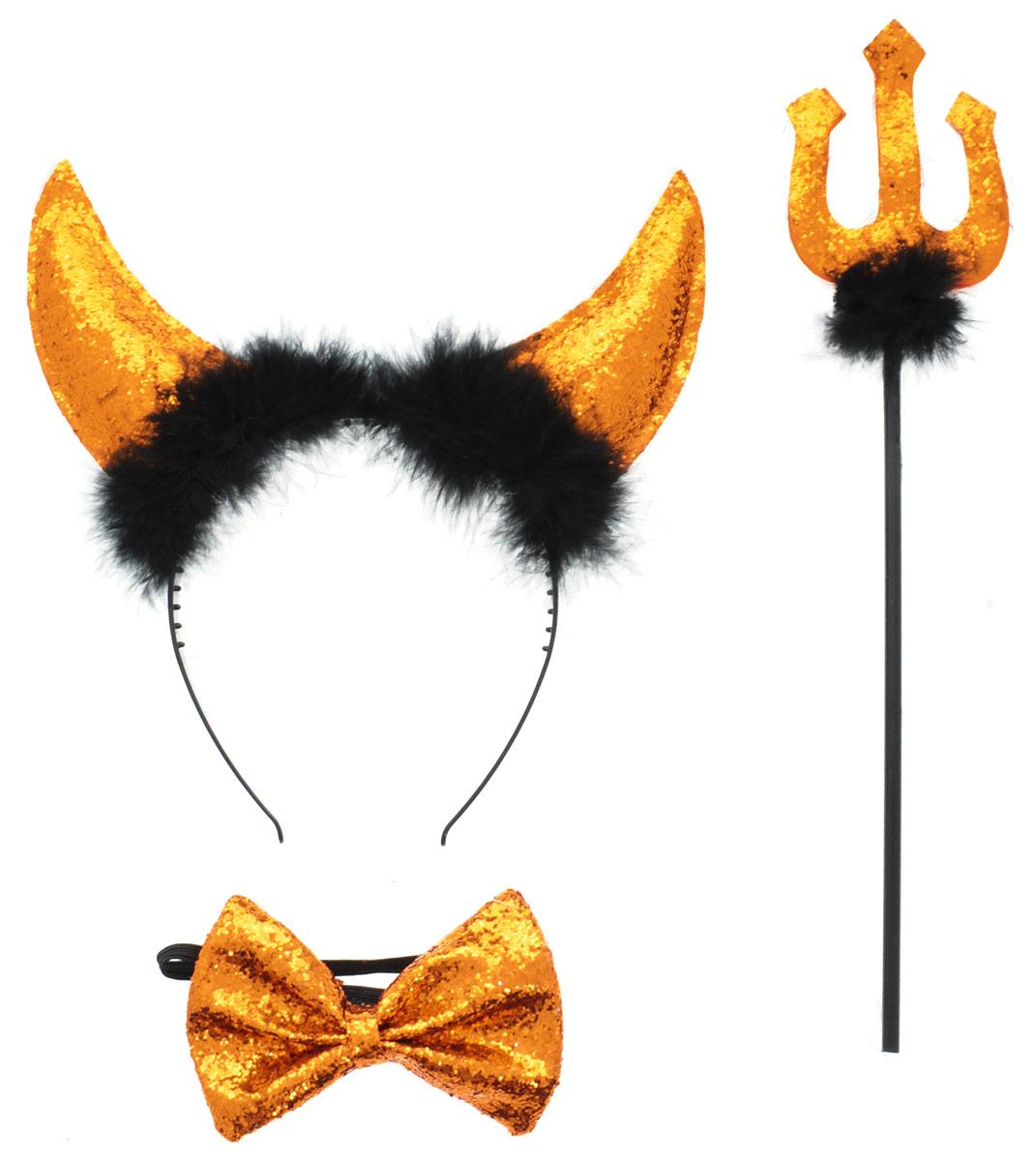 Partymania Ободок Рожки чертика с трезубцем и бабочкой цвет оранжевыйT1204_золотистыйОбодок Partymania Рожки чертика с трезубцем и бабочкой подойдет для карнавалов, праздников и любых торжеств. Набор включает в себя ободок с рожками, бабочку и трезубец. Изделия послужат отличным дополнением к вашему карнавальному костюму и праздник станет ярким и красочным!