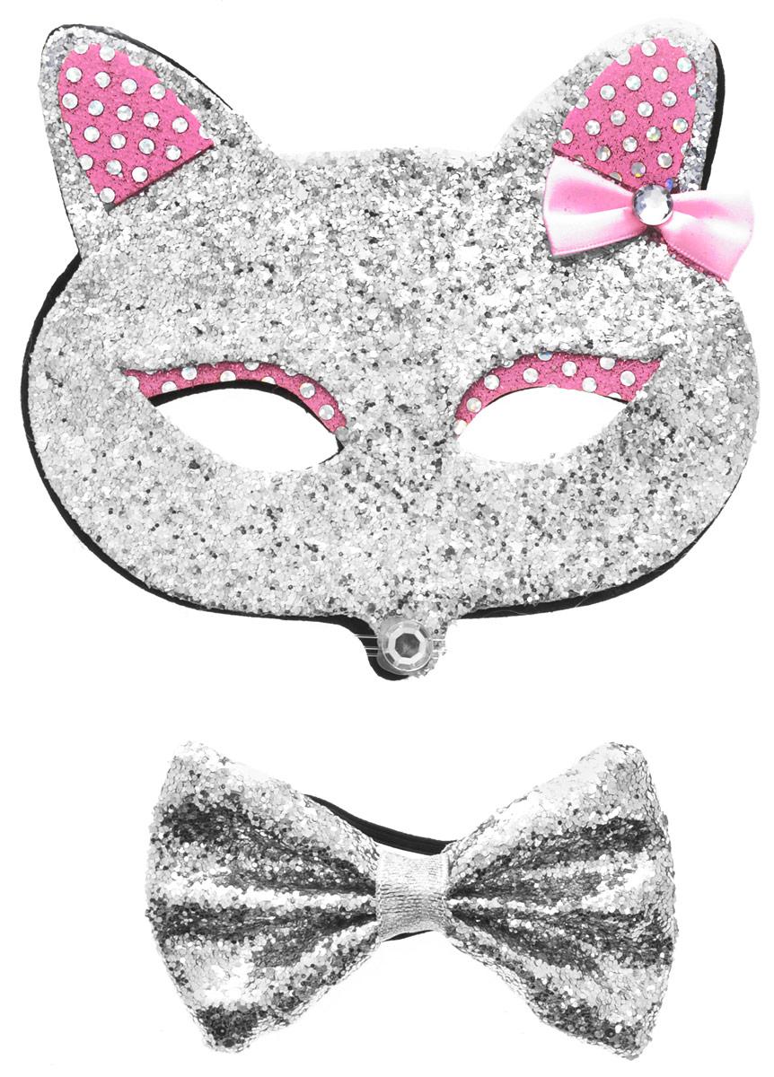 Partymania Маска карнавальная Кошечка с бабочкой цвет серебристый розовыйT1224_серебристый, розовыйМаска карнавальная Partymania Кошечка с бабочкой превратит любой детский праздник в веселое торжество. Одев такую маску, ваш ребенок будет самозабвенно играть, веселясь и позабыв про все на свете. Маска выполнена в виде кошачьей мордочки. Карнавальная маска Partymania Кошечка с бабочкой является отличным решением для карнавалов, утренников и просто детских праздников. В наборе маска с бабочкой. Изделия на резинке.