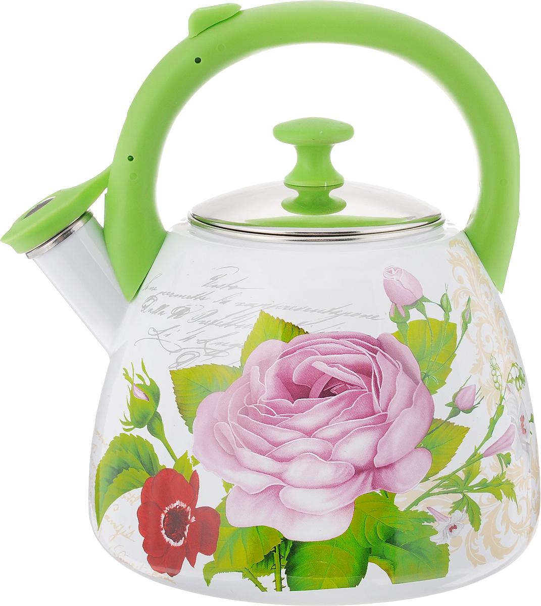 Чайник эмалированный Mayer & Boch Розы, со свистком, 2,8 л