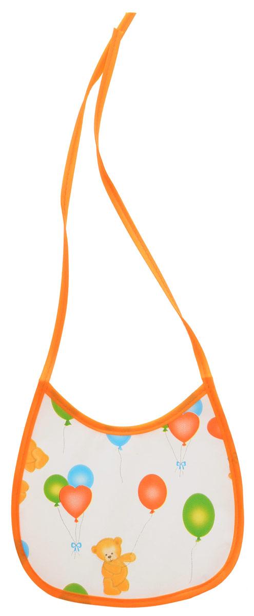 Колорит Нагрудник Мишки с шариками цвет белый оранжевый