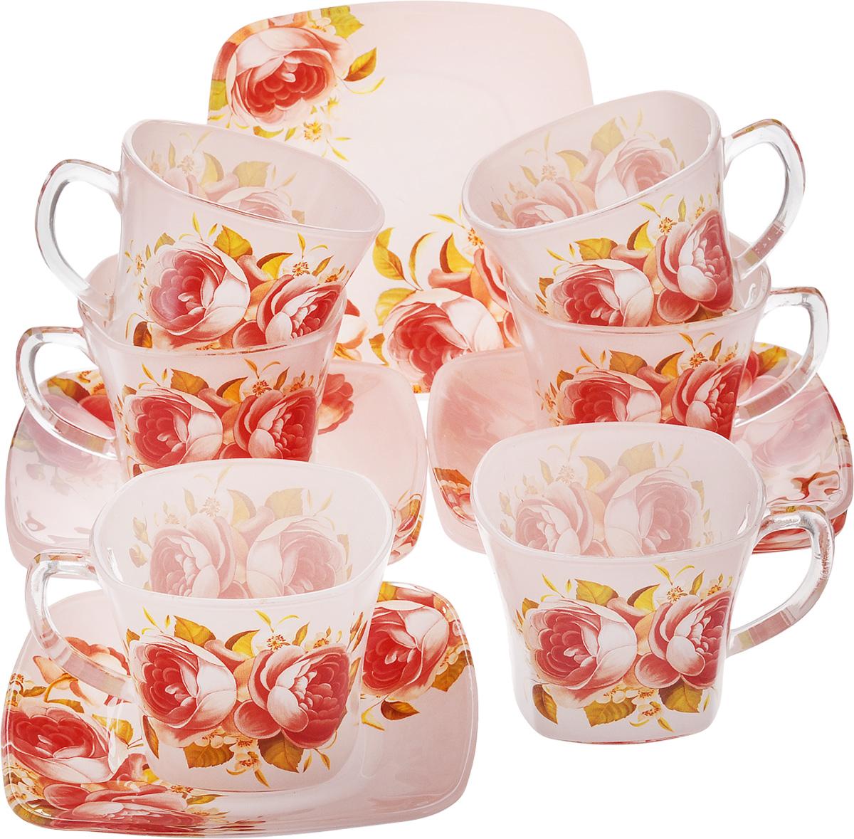 Набор чайный Loraine, 12 предметов. 2412624126Чайный набор Loraine состоит из 6 чашек и 6 блюдец. Изделия, выполненные из высококачественного стекла, имеют элегантный дизайн и классическую форму. Такой набор прекрасно подойдет как для повседневного использования, так и для праздников. Чайный набор Loraine - это не только яркий и полезный подарок для родных и близких, но и великолепное решение для вашей кухни или столовой. Объем чашки: 200 мл. Размер чашки (по верхнему краю): 8 см. Высота чашки: 7 см. Размер блюдца (по верхнему краю): 13,5 х 13,5 см. Высота блюдца: 2 см.