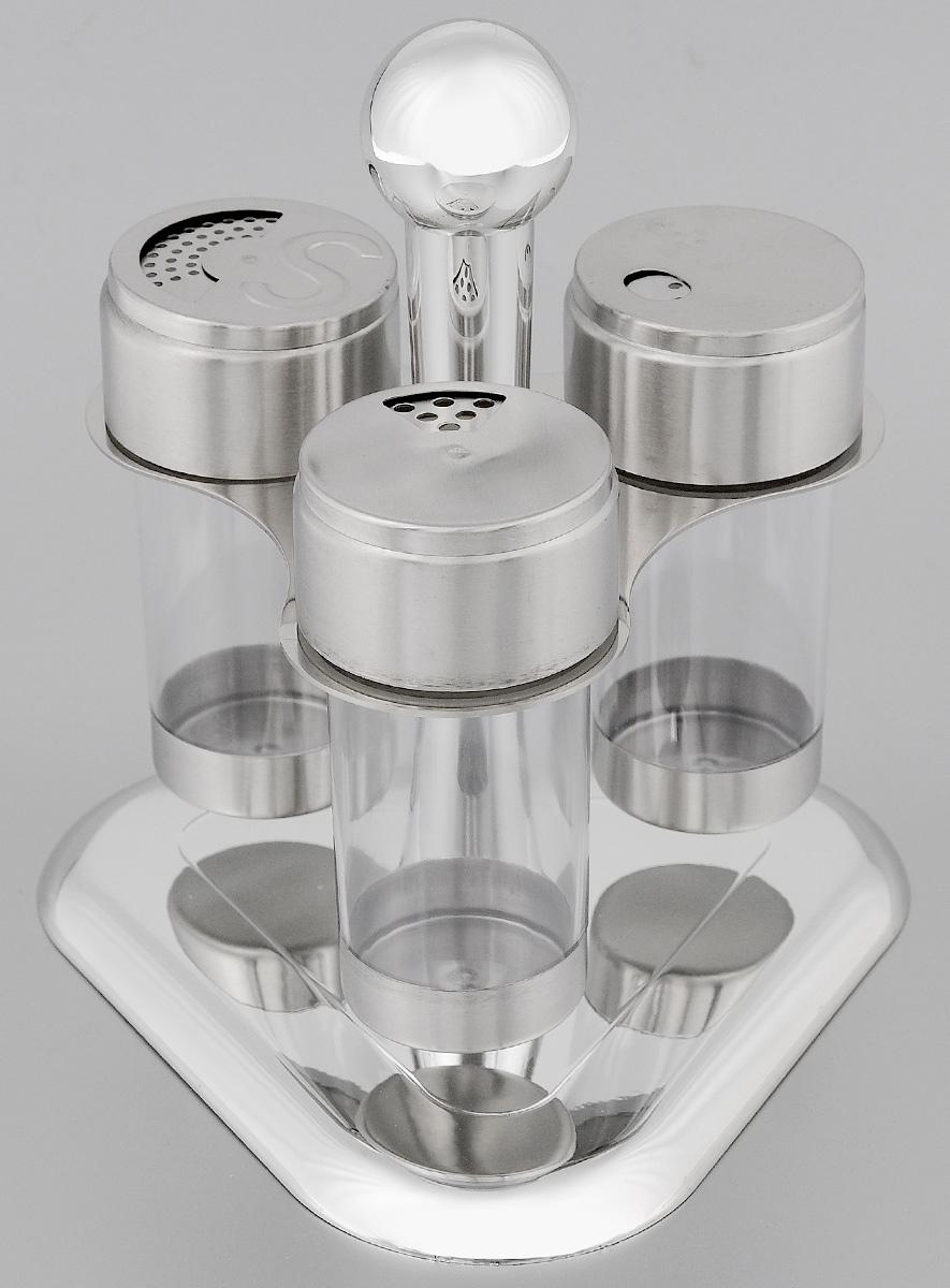 Набор для специй Mayer & Boch, 4 предмета. 2352623526Набор Mayer & Boch состоит из 3 емкостей для специй и вращающейся подставки. Емкости изготовлены из пластика. Крышки, выполненные из нержавеющей стали, плотно закрываются и предотвращают высыпание специй. Имеются регулируемые отверстия, с помощью которых можно обильно или слегка приправить блюдо. Емкости идеально подойдут для соли, перца и других специй. Изделия размещаются на специальной подставке. Оригинальный набор эффектно украсит интерьер кухни, а также станет незаменимым помощником в приготовлении ваших любимых блюд. С таким набором специи надолго сохранят свежесть, аромат и пряный вкус. Объем емкостей: 100 мл. Высота емкостей: 11 см. Диаметр емкостей: 4 см. Размер подставки: 17 х 17 х 20 см.