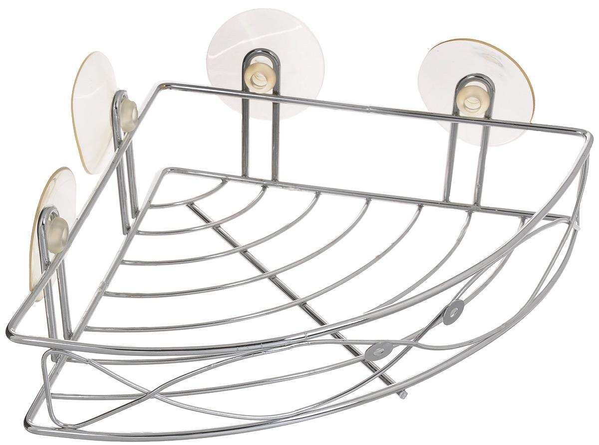 Полка угловая Super Kristal, для ванной комнаты, на присосках, 20 х 27 х 4,5 см2644Угловая полка для ванной комнаты Super Kristal выполнена из металла с хромированной поверхностью и крепится с помощью четырех вакуумных присосок (входят в комплект). Материал присосок прочный, эластичный, устойчивый к деформации, имеет длительный срок службы. В случае необходимости изделие можно быстро перевесить. Никаких дырок и следов на поверхности не остается. Легко устанавливается на плитку, стекло, металл и прочие воздухонепроницаемые поверхности. Размер полки: 20 х 28 х 4,5 см. Диаметр присоски: 5,5 см.