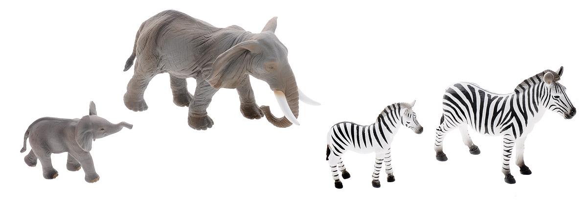 Mojo Набор фигурок Слоны и зебры 4 шт387312Набор фигурок Mojo Слоны и зебры детализировано проработан и окрашен вручную, поэтому фигурки имеют весьма правдоподобный вид. В наборе можно найти фигурку маленького слоненка, взрослого слона, взрослой зебры и маленькой зебры. Фигурки могут стать героями сюжетной игры, отличными экземплярами в коллекции, а также методическим наглядным пособием по изучению зоологии. Набор изготовлен из качественных и безопасных материалов, не вызывает аллергии.