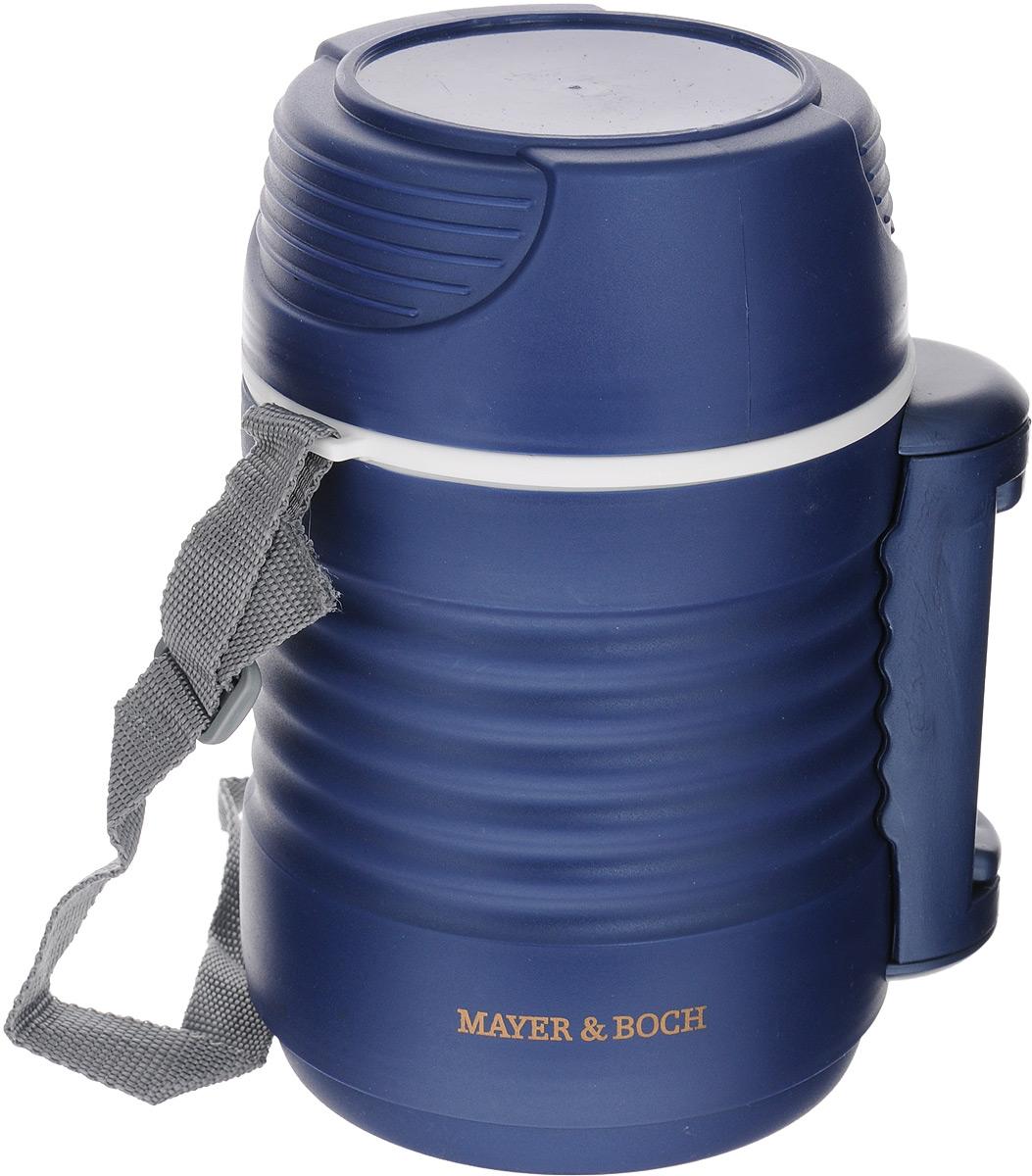 Термос пищевой Mayer & Boch, с 2 контейнерами, цвет: синий, 1,3 л23732Термос пищевой Mayer & Boch предназначен для длительного хранения горячих и холодных блюд. Цветной корпус выполнен из пищевого полипропилена (пластика). Внутренний резервуар изготовлен из высококачественной нержавеющей стали, не вступающей в реакцию с продуктами и не искажающей вкус приготовленных блюд. В широкое горлышко термоса помещены два контейнера с крышками, изготовленные из пищевого пластика белого цвета. Крышки легко открываются и плотно закрываются. Это идеальный вариант для переноски сразу нескольких разных блюд. Благодаря текстильному ремню и боковой ручке, термос легко и удобно транспортировать. Данный термос обладает не только прекрасными термоизоляционными качествами, но и непревзойденной надежностью. Диаметр термоса: 10,5 см. Высота термоса (без учета крышки): 19 см. Высота термоса (с учетом крышки): 22 см. Диаметр контейнеров: 10 см, 10 см. Высота контейнеров: 5 см, 9,5 см.