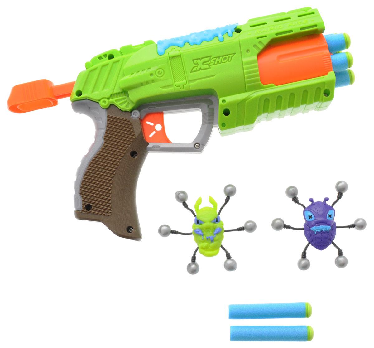 XSHOT Бластер Атака пауков4801Уникальное дальнобойное игрушечное оружие - бластер XSHOT Атака пауков - позволит вашему ребенку почувствовать себя во всеоружии! Бластер выполнен из прочного пластика яркого цвета. Игрушка стреляет на расстояние до 17 метров. Стрелы изготовлены из вспененной резины, что делает их абсолютно безопасными для человека, даже при попадании с близкого расстояния! В комплект входят два паука, которые медленно сползают вниз, будучи прикрепленными к гладкой поверхности и 8 стрел. Игра с таким оружием поможет ребенку в развитии меткости, ловкости, координации движений и сноровки.