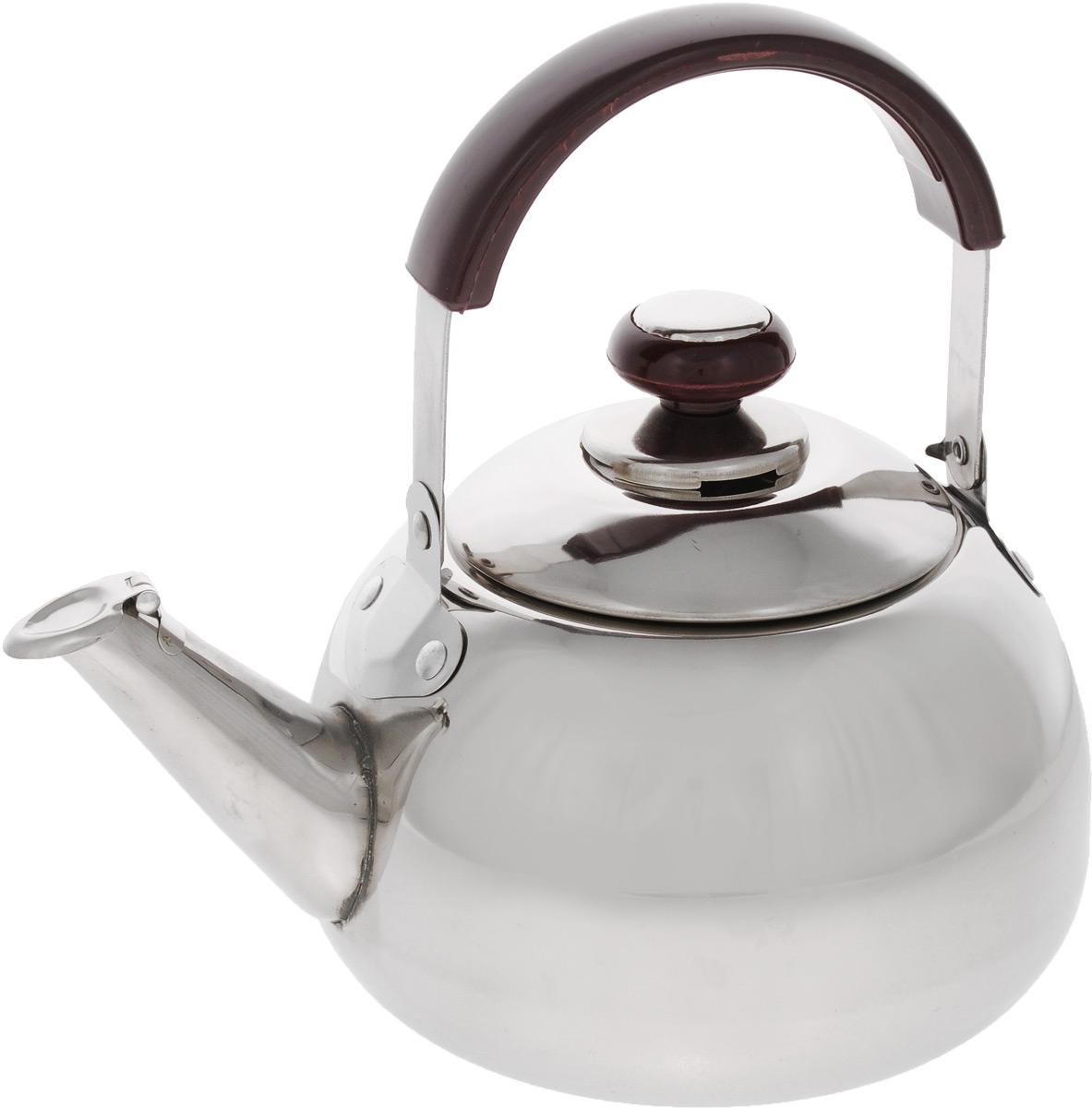 Чайник Mayer & Boch, со свистком, 2 л. 25222522Чайник Mayer & Boch изготовлен из высококачественной нержавеющей стали. Он оснащен подвижной ручкой из стали с бакелитовой накладкой, что делает использование чайника очень удобным и безопасным. Крышка снабжена свистком, позволяя контролировать процесс подогрева или кипячения воды. Эстетичный и функциональный чайник будет оригинально смотреться в любом интерьере. Подходит для газовых, электрических и стеклокерамических плит. Можно мыть в посудомоечной машине. Высота чайника (без учета ручки и крышки): 11,5 см. Высота чайника (с учетом ручки и крышки): 21 см. Диаметр чайника (по верхнему краю): 10 см. Диаметр основания: 14 см.