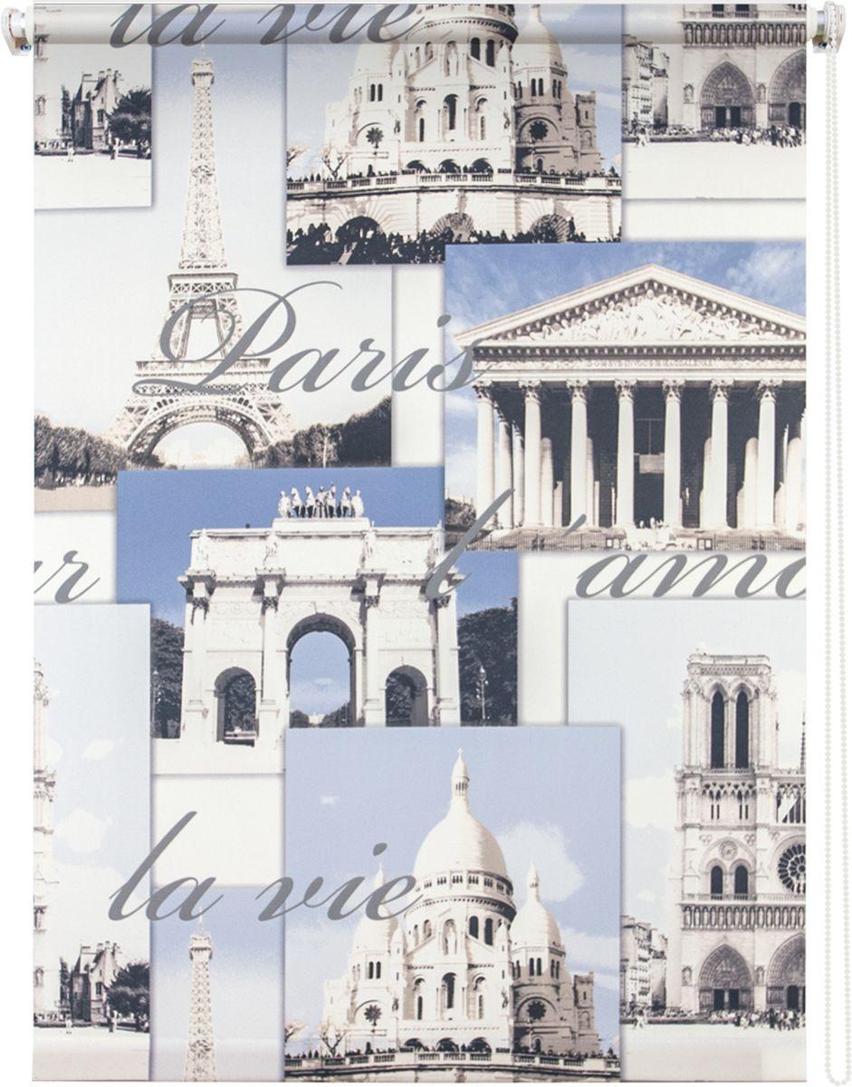 Штора рулонная Уют Париж, цвет: голубой, 100 х 175 см62.РШТО.8970.100х175• Защита от посторонних взглядов. • Фиксация в любом положении. • Крепеж: Универсальный (к потолку, к раме, к стене).