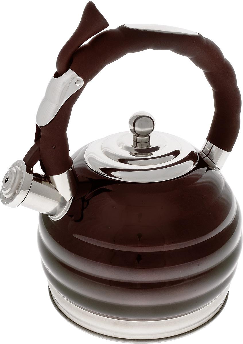 Чайник Mayer & Boch, со свистком, 3 л. 2496624966Чайник Mayer & Boch выполнен из высококачественной нержавеющей стали, что обеспечивает долговечность использования. Фиксированная ручка, снабженная механизмом для открывания носика, делает использование чайника очень удобным и безопасным. Носик имеет свисток, что позволит вам контролировать процесс подогрева или кипячения воды. Эстетичный и функциональный чайник будет оригинально смотреться в любом интерьере. Подходит для всех типов плит, включая индукционные. Можно мыть в посудомоечной машине. Диаметр чайника (по верхнему краю): 10 см. Диаметр основания: 17,5 см. Высота чайника (с учетом крышки и ручки): 29 см. Диаметр индукционного диска: 13,5 см.