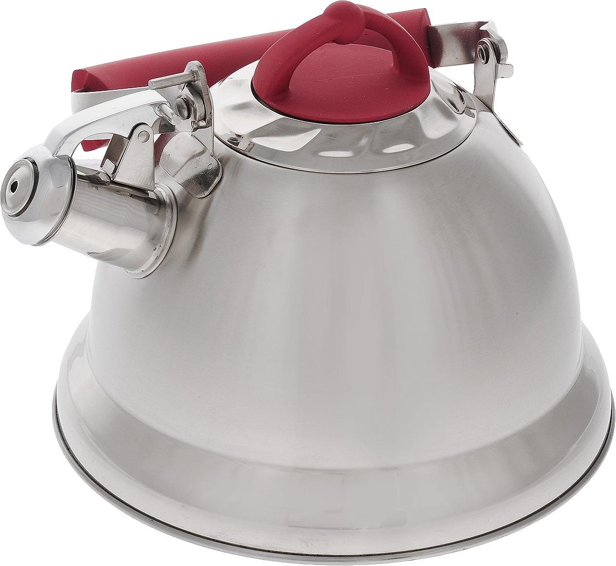 Чайник Mayer & Boch, со свистком, цвет: стальной, красный, 3,2 л. 2278022780Чайник Mayer & Boch изготовлен из высококачественной нержавеющей стали, что делает его весьма гигиеничным и устойчивым к износу при длительном использовании. Капсулированное дно обеспечивает равномерный и быстрый нагрев, поэтому вода закипает гораздо быстрее, чем в обычных чайниках. Чайник оснащен откидным свистком, звуковой сигнал которого подскажет, когда закипит вода. Подвижная ручка из стали и бакелита дает дополнительное удобство при разлитии напитка. Чайник Mayer & Boch идеально впишется в интерьер любой кухни и станет замечательным подарком к любому случаю. Подходит для газовых, стеклокерамических, индукционных и электрических плит. Можно мыть в посудомоечной машине. Высота чайника (без учета ручки и крышки): 13,5 см. Высота чайника (с учетом ручки и крышки): 24 см. Диаметр чайника (по верхнему краю): 10,5 см.