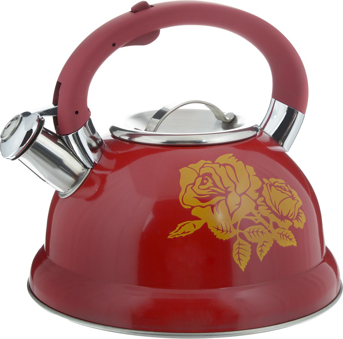 Чайник Mayer & Boch, со свистком, 2,6 л. 2241322413Чайник Mayer & Boch выполнен из высококачественной нержавеющей стали, что делает его гигиеничным и устойчивым к износу при длительном использовании. Нержавеющая сталь не окисляется и не впитывает запахи, напитки всегда ароматные и имеют настоящий вкус. Носик чайника оснащен насадкой-свистком, что позволит вам контролировать процесс подогрева или кипячения воды. Фиксированная ручка изготовлена из пластика. Эстетичный и функциональный, с красивым узором в виде роз, такой чайник будет оригинально смотреться в любом интерьере. Подходит для электрических, газовых, стеклокерамических и галогеновых плит. Не подходит для индукционных плит. Можно мыть в посудомоечной машине. Высота чайника (без учета ручки и крышки): 11 см. Высота чайника (с учетом ручки и крышки): 20 см.