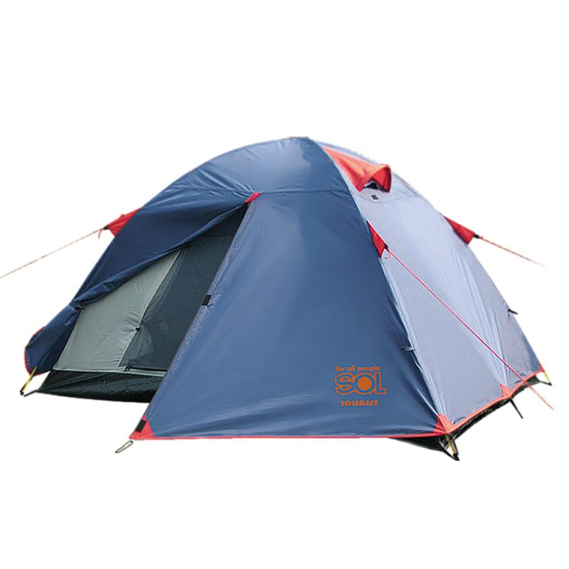 Палатка Sol Tourist 2, цвет: синий. SLT-004. 06SLT-004.06Палатка Sol Tourist синего цвета. Особенности: - Двухслойная палатка с двумя входами - Вход спального отеделния продублирован москитной сеткой - Увеличенный тамбур, два вентиляционных клапана, все швы проклеены - Идеальна для туристических походов в весенне, летнее и осеннее время Размер: 250 х 220 см Количество мест: 2 Количество входов: 2 Полный вес: 3,2 кг Количество тамбуров: 2 Размер спального места: 210 х 150 см Размер тамбура: 50 + 50 см Высота: 120 см Количество в коробке (шт): 4 Размер коробки: 62х 32х 32 см Вес коробки: 12,9 кг Тент: 100% Полиэстер 75D/190T RW PU 3000 мм в ст Внутренняя палатка: 100% дышащий полиэстер Каркас: фибергласс 7,9 мм Дно: армированный полиэтилен (терпаулинг)