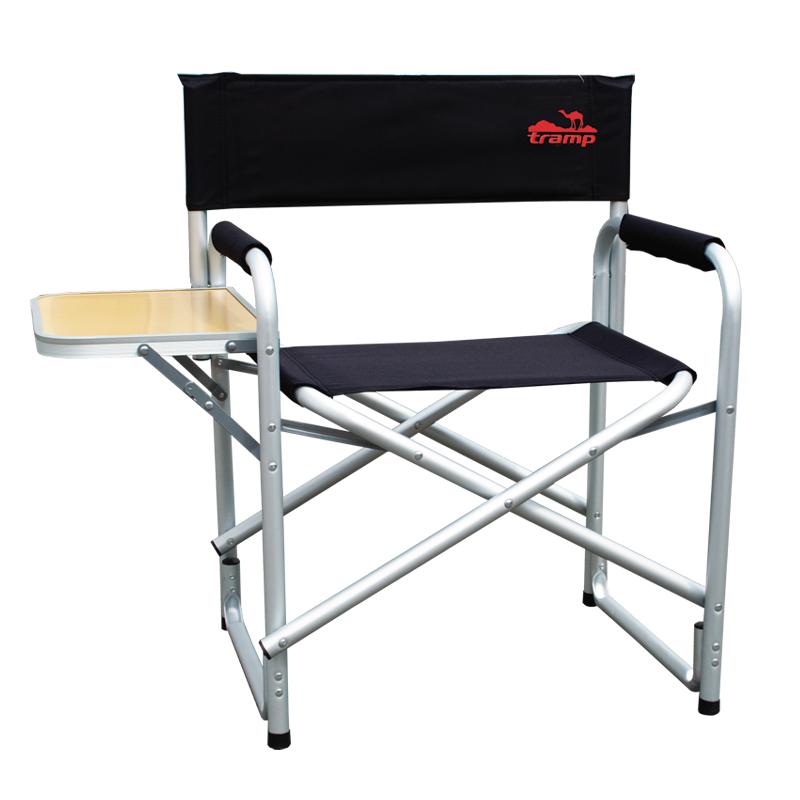 Стул директорский Tramp со столом, цвет: черный, металлик, 120 кг. TRF-002TRF-002Директорский стул со столом Tramp Особенности: Классический стул жесткой конструкции для удобного отдыха за городом. В комплект входит складной столик. Размер: 85/58 x 50 x 44/80 см Допустимая нагрузка: 120 кг Толщина трубки: 1,2 мм Полный вес: 3,5 кг Диаметр: 25 мм Материал (ткань): 600D oxford двухслойный Материал рамы: алюминий