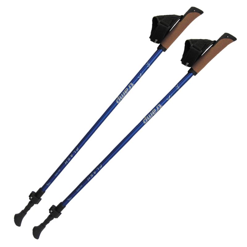 Палки телескопические для скандинавской ходьбы Tramp FLASH, цвет: синий, 84-135 cм. TRR-010TRR-010Палки для скандинавской ходьбы FLASH Tramp Особенности: Скандинавская ходьба (ходьба с палками) – это уникальный вид фитнесса, исключительно полезный для здоровья, не имеющий противопоказаний и доступный людям всех возрастов. Ходьба с палками эффективна при лечении болезней опорно-двигательной системы, суставов, позвоночника, сердечнососудистой системы. Скандинавская ходьба с палками помогает быстро восстановиться после операций и травм. Ходьба с палками корректирует осанку, укрепляет мышцы рук и ног, борется с отеками и избыточным весом, помогает поддерживать хорошую физическую форму без вреда для здоровья. Секции: 2 Диаметр трубки: 16мм / 14мм Длина min/max: 84 / 135 cм Вес пары: 490 гр Ручка: с быстросъемным темляком Количество в коробке (шт): 20 пар Материал: Alu 7075 Материал ручки: Натуральная пробка
