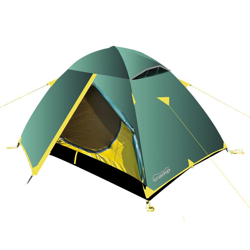 Палатка Тramp Scout 3, цвет: зеленый. TRT-002. 04TRT-002.04Палатка Tramp Scout 3 зеленого цвета. Особенности: - Двухслойная палатка с двумя входами - Внешний тент палатки устойчив к ультрафиолетовому излучению - Внешний тент имеет пропитку, задерживающую распространение огня -Два вентиляционных клапана - Все швы проклеены - Идеальна для туристических походов в весеннее, летнее и осеннее время Палатки этой серии разработаны для любителей пеших походов или велосипедных путешествий в летнее, весеннее иосеннее время. Пригодятся они также мотоциклистам, и охотникам. Небольшой вес, современные материалы, прочность и поразительное удобство конструкций - все это отлично подойдет для каждого искателя приключений! Размер: 320 х 210 см Количество мест: 3 Количество входов: 2 Полный вес: 3,3 кг Количество тамбуров: 2 Размер спального места: 180 х 210 см Размер тамбура: 70 + 70 см Высота: 120 см Размер коробки: 62х 32х 28 см Вес коробки: 15,8 кг Тент: 100% полиэстер 75D/190T RipStop PU, 5000...