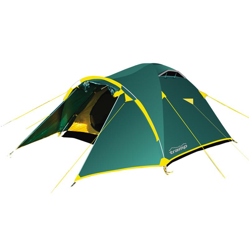 Палатка Тramp Lair 4, цвет: зеленый. TRT-007. 04TRT-007.04Палатка Tramp Lair 4 зеленого цвета. Особенности: - Двухслойная палатка с двумя входами -Внешний тент палатки устойчив к ультрафиолетовому излучению - Внешний тент имеет пропитку, задерживающую распространение огня - Большой вместительный тамбур -Два вентиляционных клапана - Все швы проклеены - Идеальна для туристических походов в весеннее, летнее и осеннее время Палатки этой серии разработаны для любителей пеших походов или велосипедных путешествий в летнее, весеннее иосеннее время. Пригодятся они также мотоциклистам, и охотникам. Небольшой вес, современные материалы, прочность и поразительное удобство конструкций - все это отлично подойдет для каждого искателя приключений! Размер: 380 х 240 см Количество мест: 4 Количество входов: 2 Полный вес: 5,25 кг Количество тамбуров: 2 Размер спального места: 210 х 240 см Размер тамбура: 120 + 50 см Высота: 140 см Размер коробки: 52х 42х 38 см Вес коробки: 22 кг Тент: 100%...
