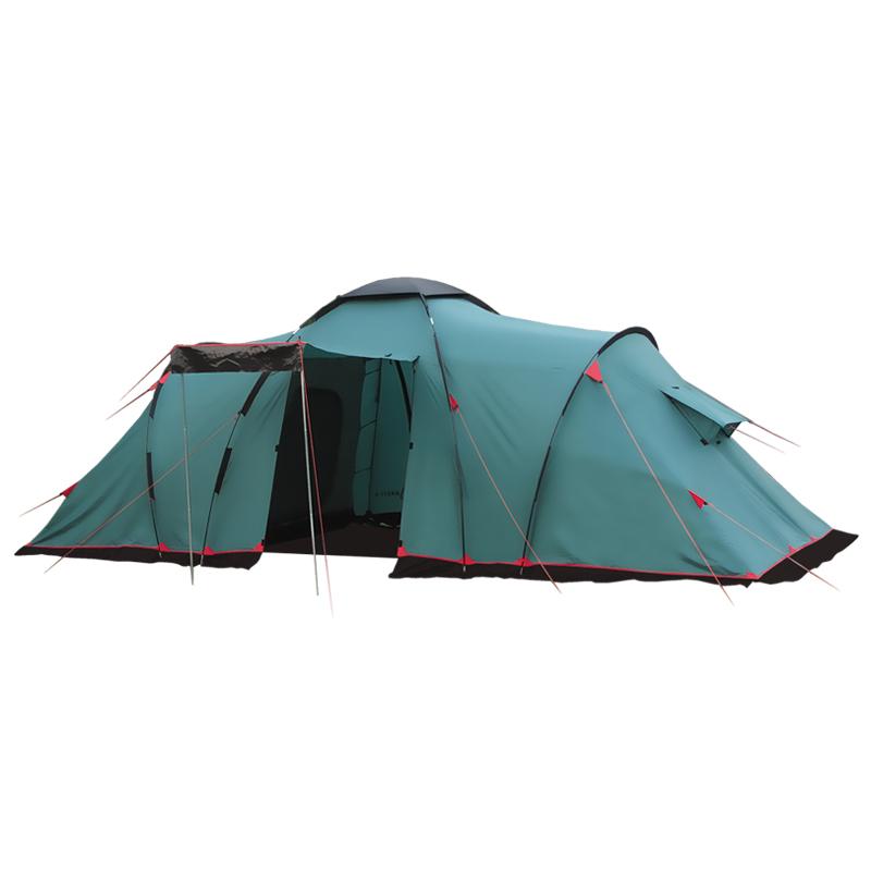 Палатка Тramp Brest 6, цвет: зеленый. TRT-066. 04TRT-066.04Палатка Tramp Brest 6 зеленого цвета. Особенности: - Двухслойная кемпинговая палатка с двумя входами, большим тамбуром - Внешний тент палатки устойчив к ультрафиолетовому излучению - Внешний тент имеет пропитку, задерживающую распространение огня - Входы всех спальных отделений продублированы москитной сеткой - Во внешнем тенте вход в тамбур продублирован москитной сеткой -Тент палатки оборудован юбкой -Два спальных отделения -Два больших вентиляционных окна - Все швы проклеены -Съемный пол из терпаулинга Палатки этой серии рассчитаны на семейный отдых, отдых большой компанией. Высокие, просторные, с тамбуром и несколькими отделениями, оборудованные москитными сетками и большими, надежные – это лучшее, что можно предложить любителям кемпинга. Размер: 585 х 220 см Количество мест: 6 Количество входов: 2 Полный вес: 14 кг Количество тамбуров: 1 Размер спального места: 180 х 220см +180 х 220см Размер тамбура: 215 х 210 см ...