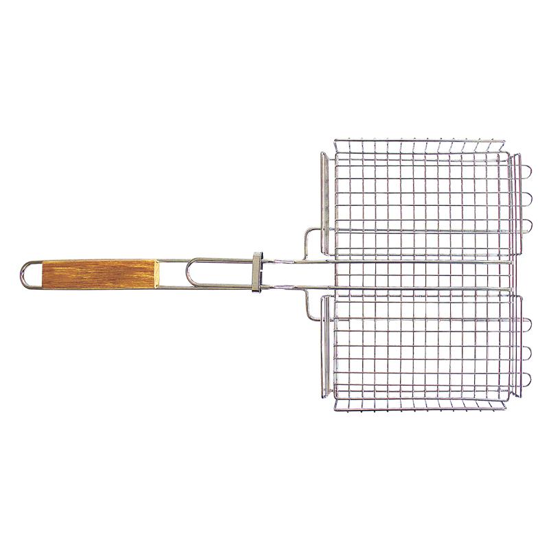 Решетка-гриль Totem глубокая. TTB-004TTB-004Решетка-гриль глубокая Totem Особенности: Предназначена для запекания мяса, птицы, рыбы, овощей. Высококачественная пищевая сталь с хромированным покрытием. Удобные деревянные ручки. Специальная конструкция позволяет задействовать максимальную площадь поверхности решетки для приготовления пищи. Глубокая форма решетки не позволяет упасть ни одному кусочку. Размер: 30 х 24 х 4 мм Длина: 62 см Удлиненные усики: 5 см Сталь, хромированное покрытие, дерево